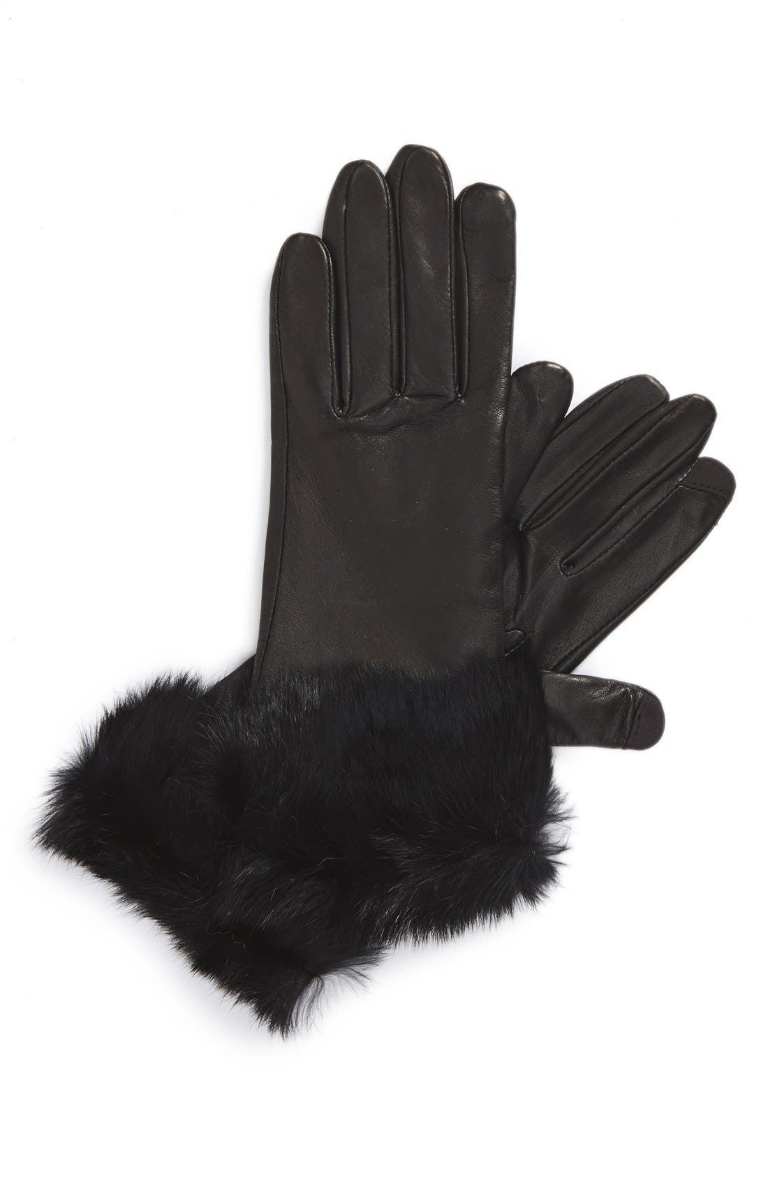 Main Image - Fownes Brothers Leather & Genuine Rabbit Hair Tech Gloves