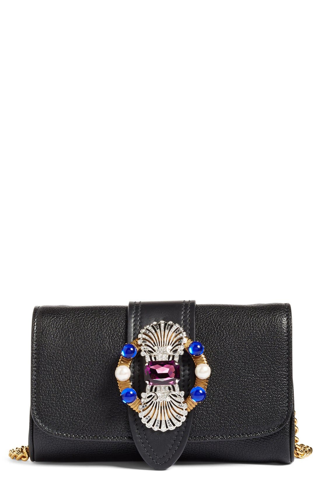 MIU MIU Jewel Goatskin Leather Clutch