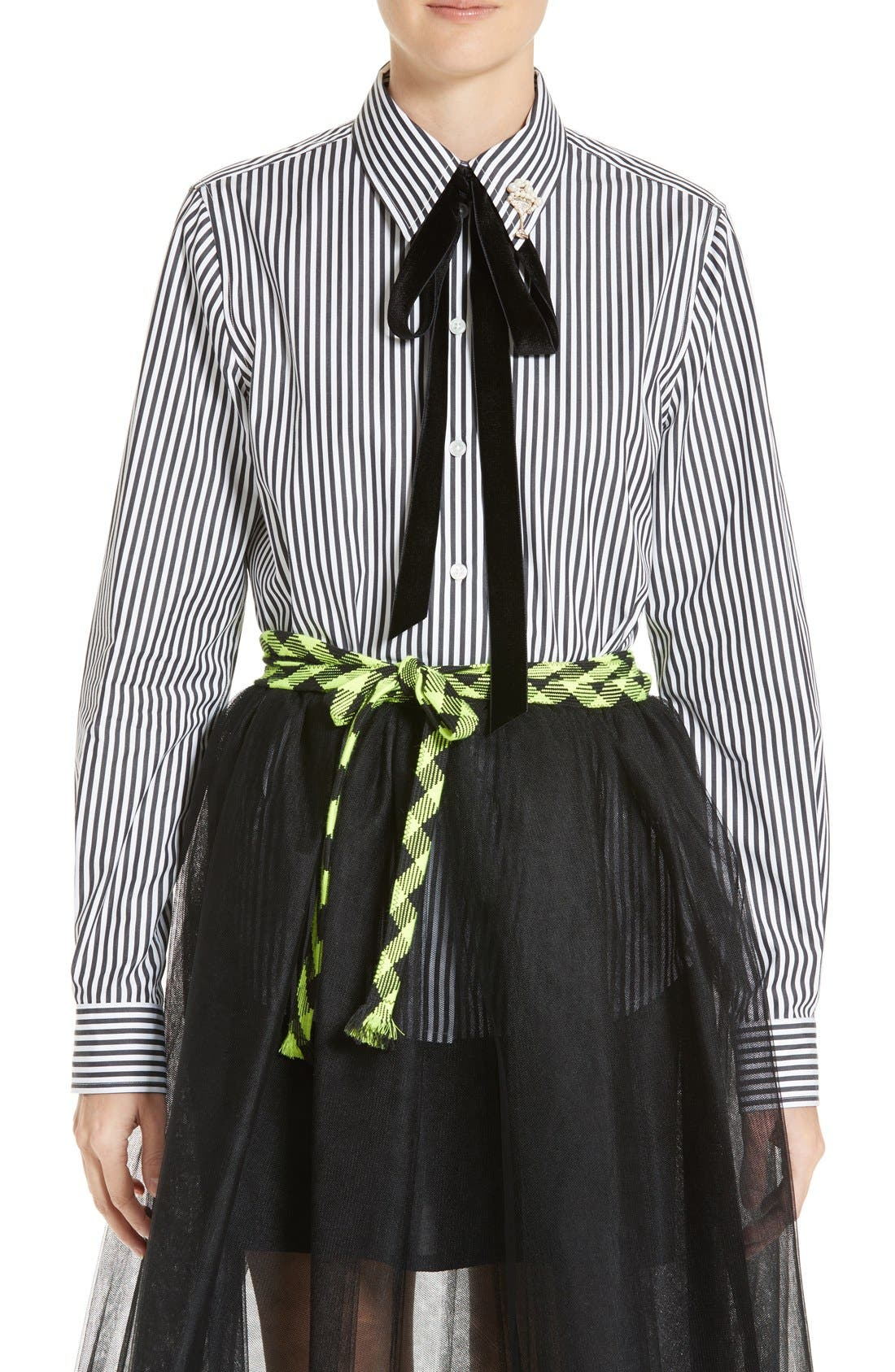 MARC JACOBS Embellished Tie Neck Stripe Poplin Shirt