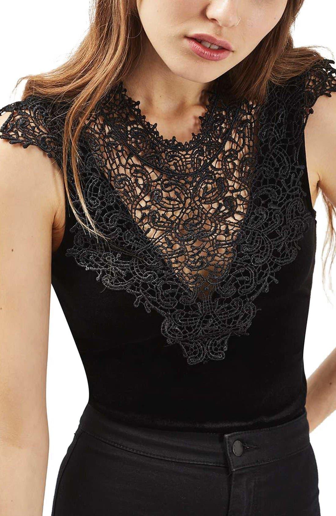 Main Image - Topshop Crochet Velvet Plunge Bodysuit