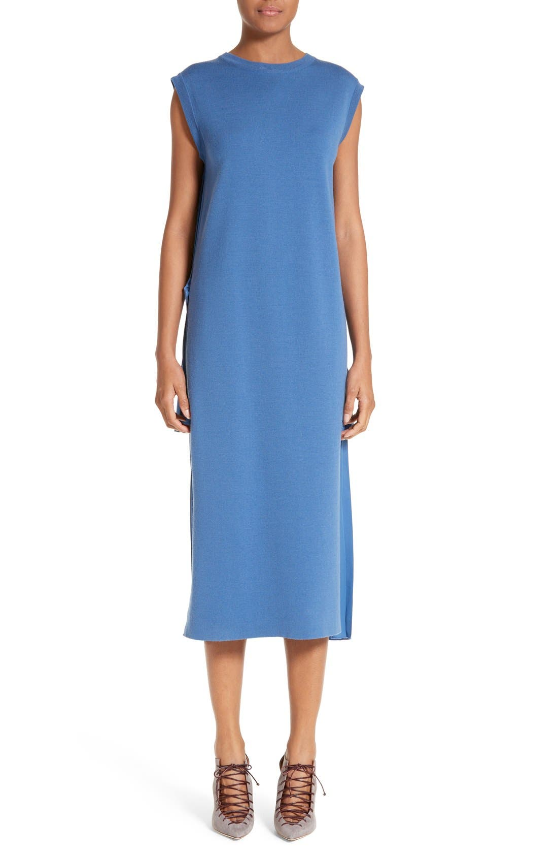 ADAM LIPPES Pleated Back Merino & Chiffon Dress