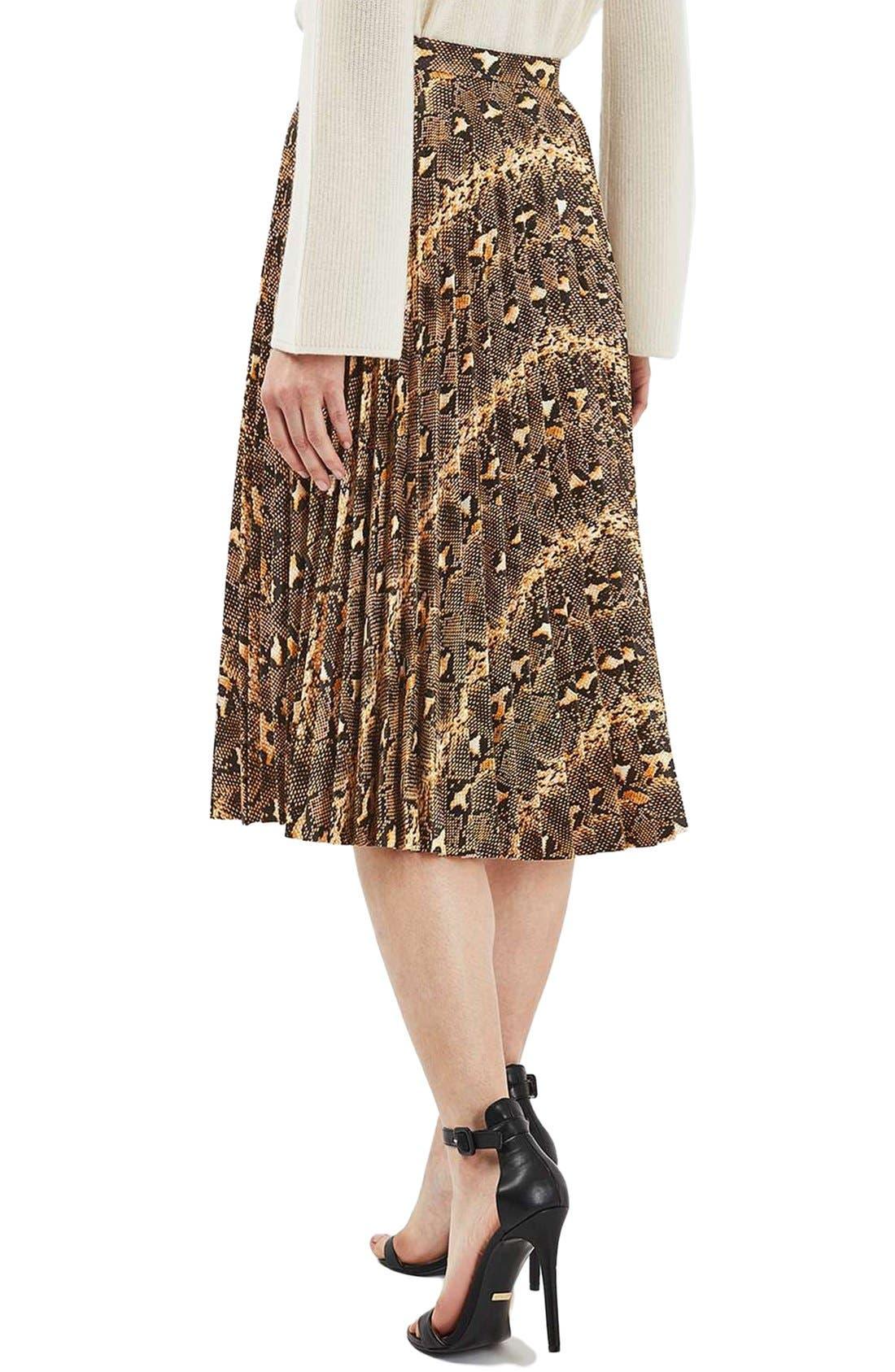 Alternate Image 3  - Topshop Snake Print Pleated Midi Skirt
