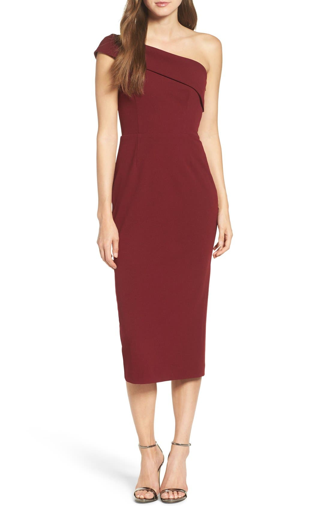 Alternate Image 1 Selected - Katie May One-Shoulder Midi Sheath Dress