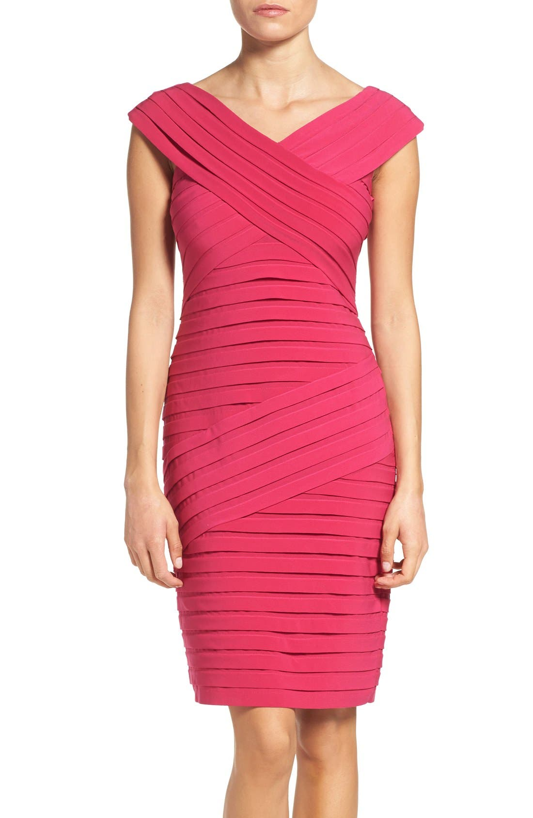 Alternate Image 1 Selected - Adrianna Papell Shutter Pleat Sheath Dress