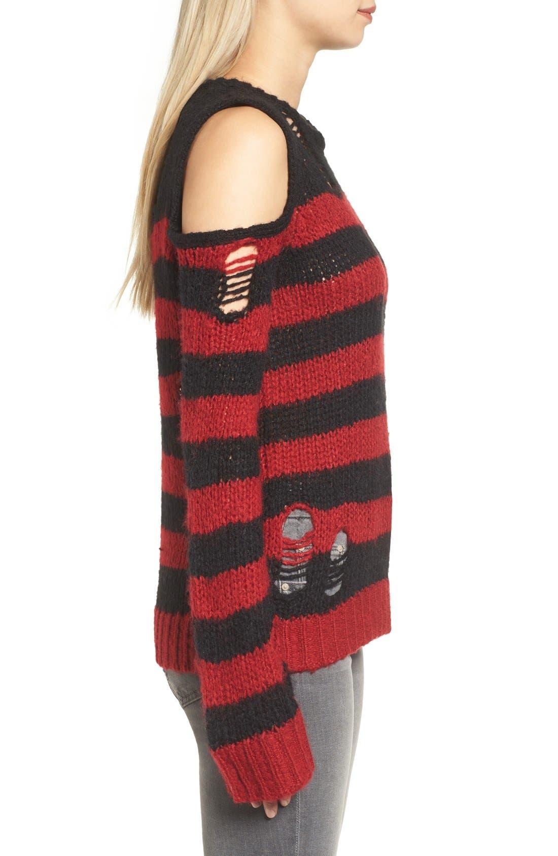 Alternate Image 3  - Pam & Gela Stripe Open Knit Sweater