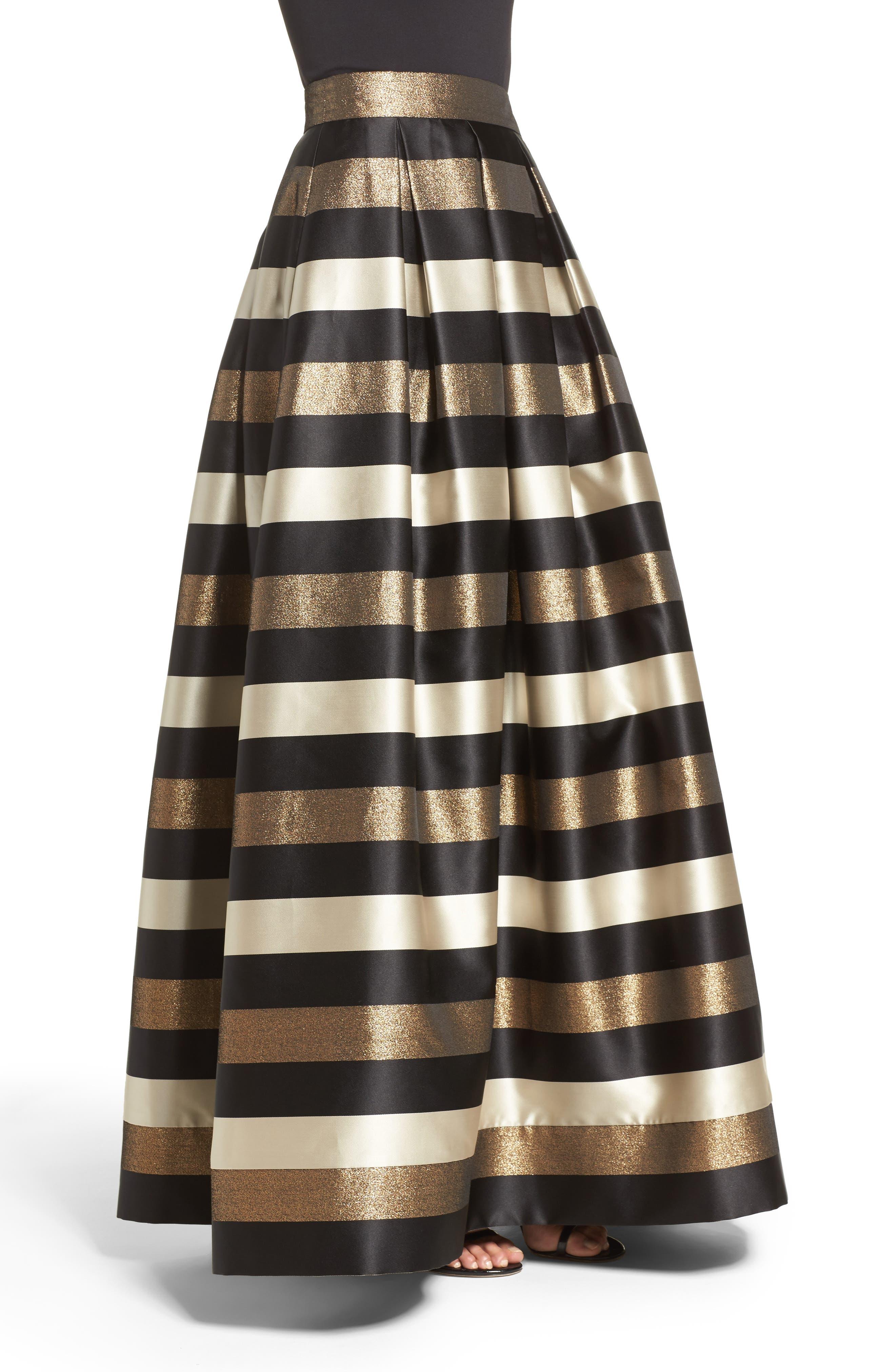Alternate Image 4  - Eliza J Metallic Stripe Ball Skirt