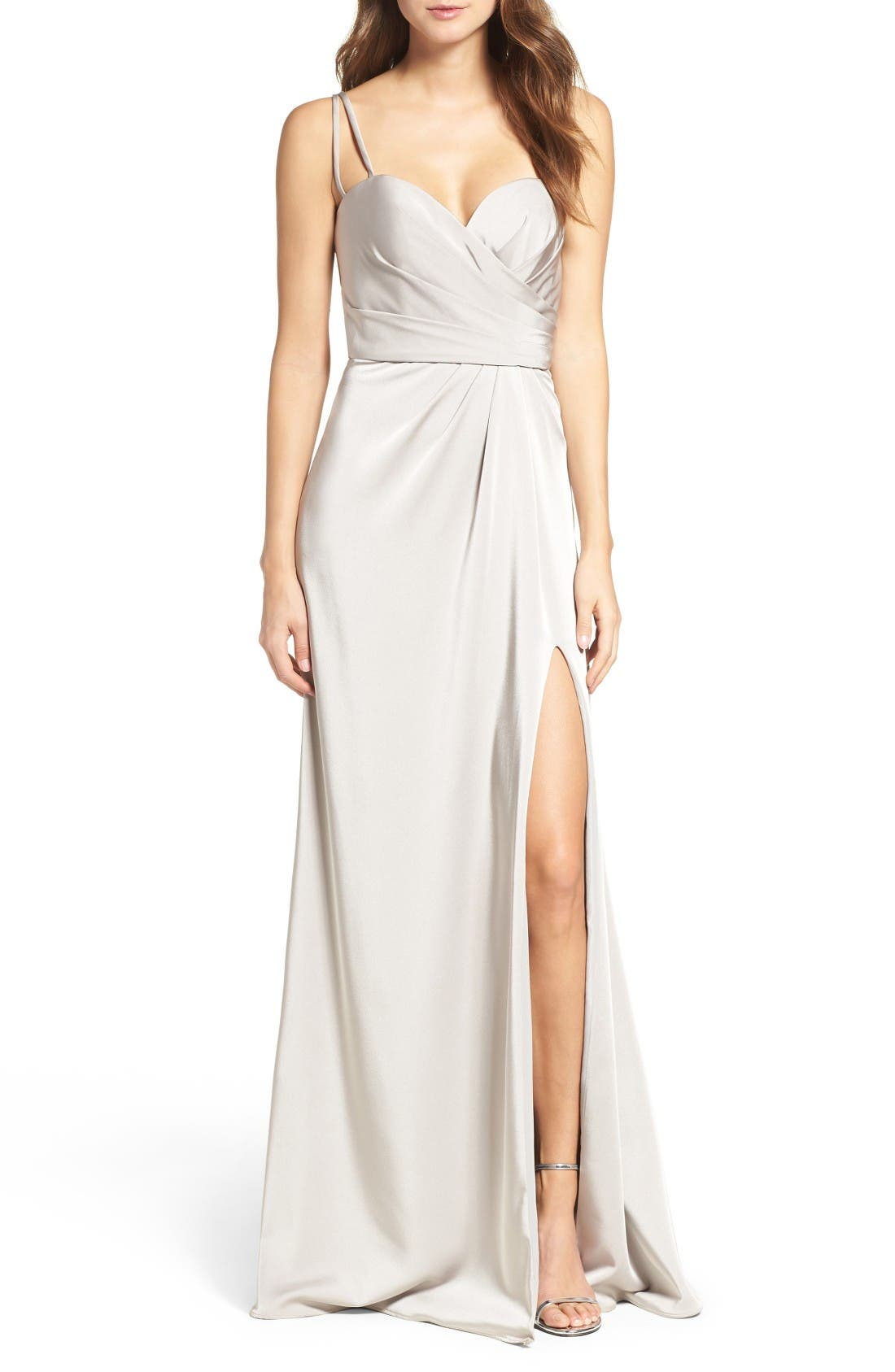 Alternate Image 1 Selected - La Femme Ruched Bodice Gown