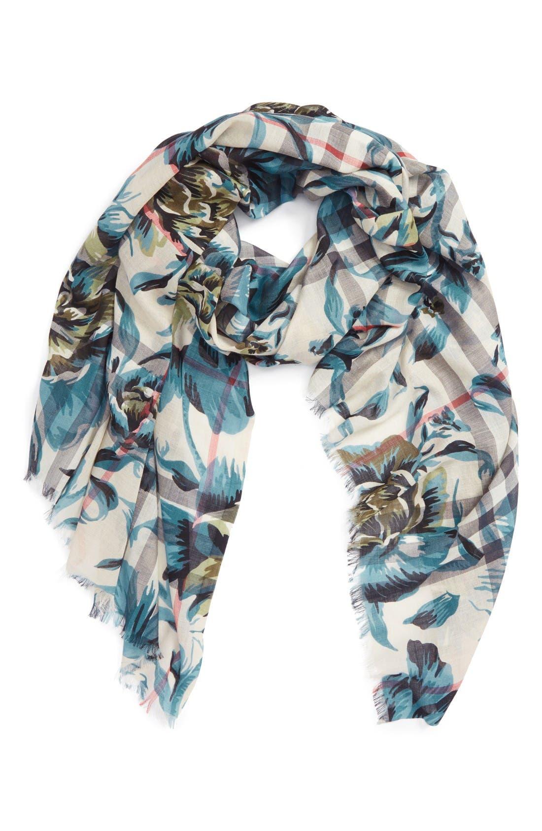 Alternate Image 2  - Burberry Floral Print Wool & Silk Scarf
