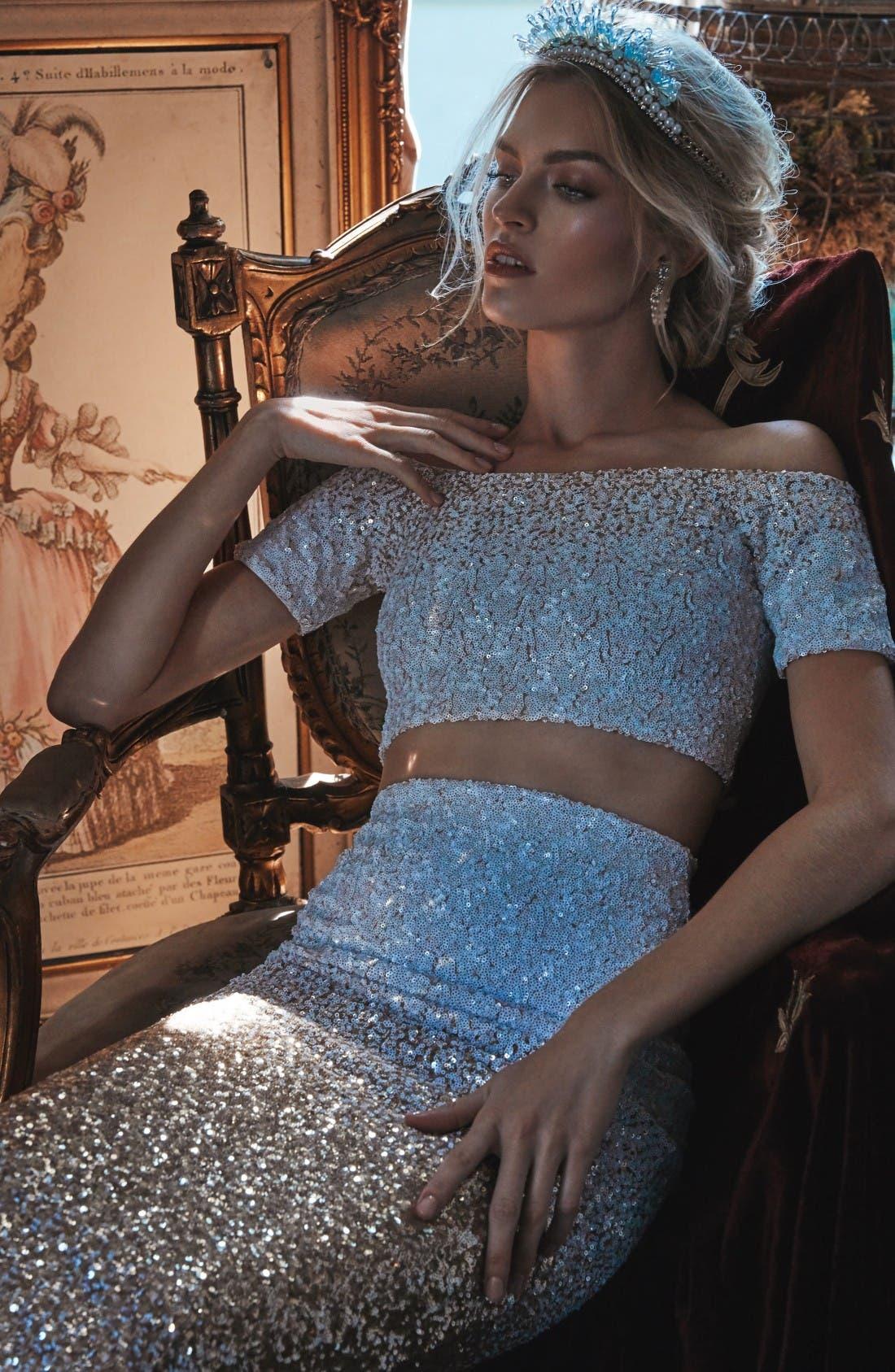 Alternate Image 2  - Dress the Population Emilia Sequin Two-Piece Dress