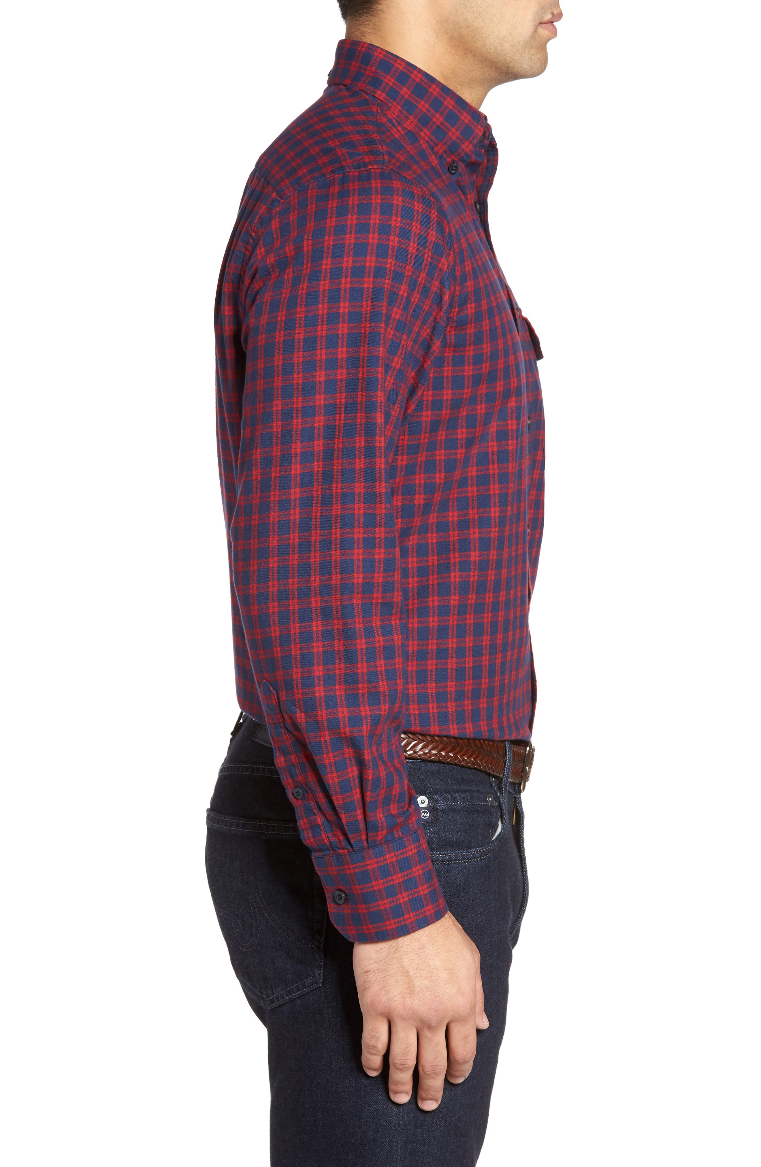 Alternate Image 3  - Nordstrom Men's Shop Classic Regular Fit Plaid Flannel Sport Shirt (Regular & Tall)