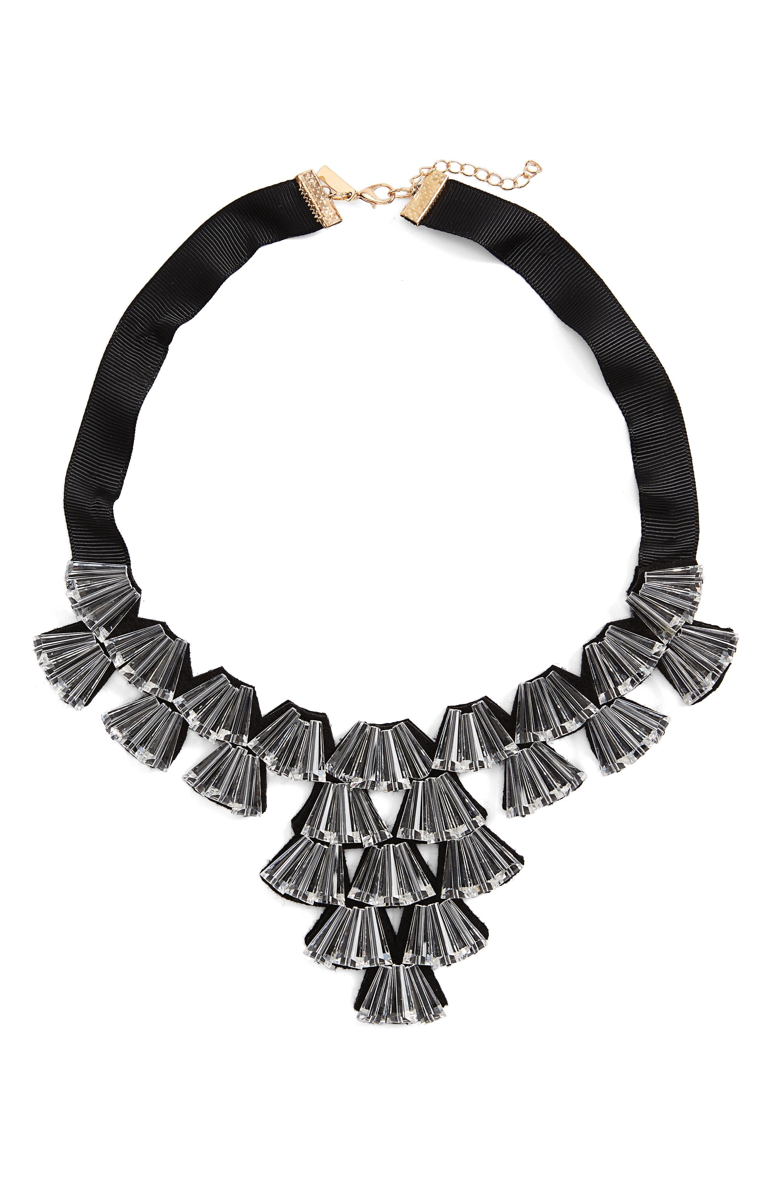 Topshop Crystal Fan Collar Necklace