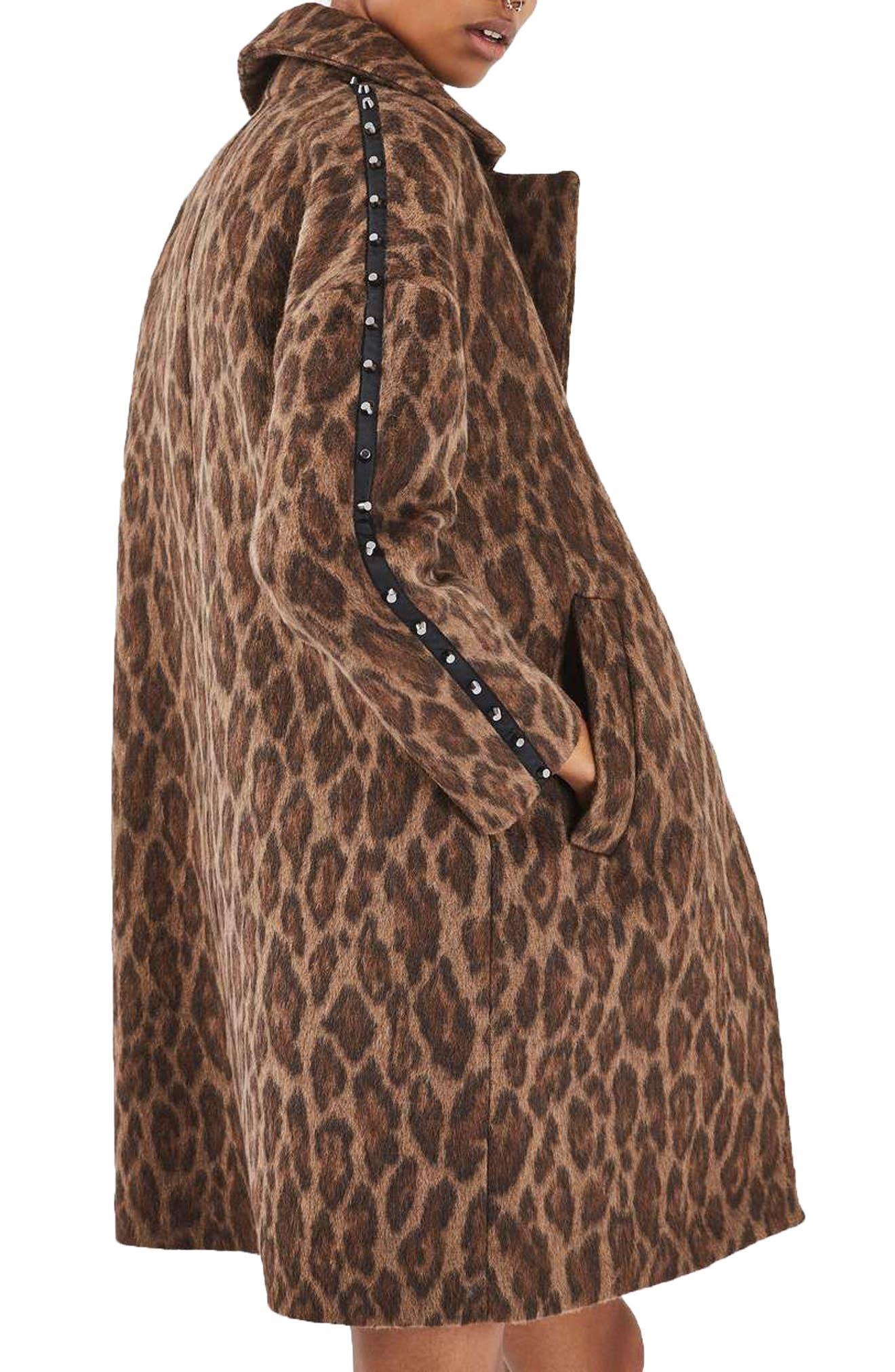 Alternate Image 2  - Topshop Stud Trim Leopard Print Coat
