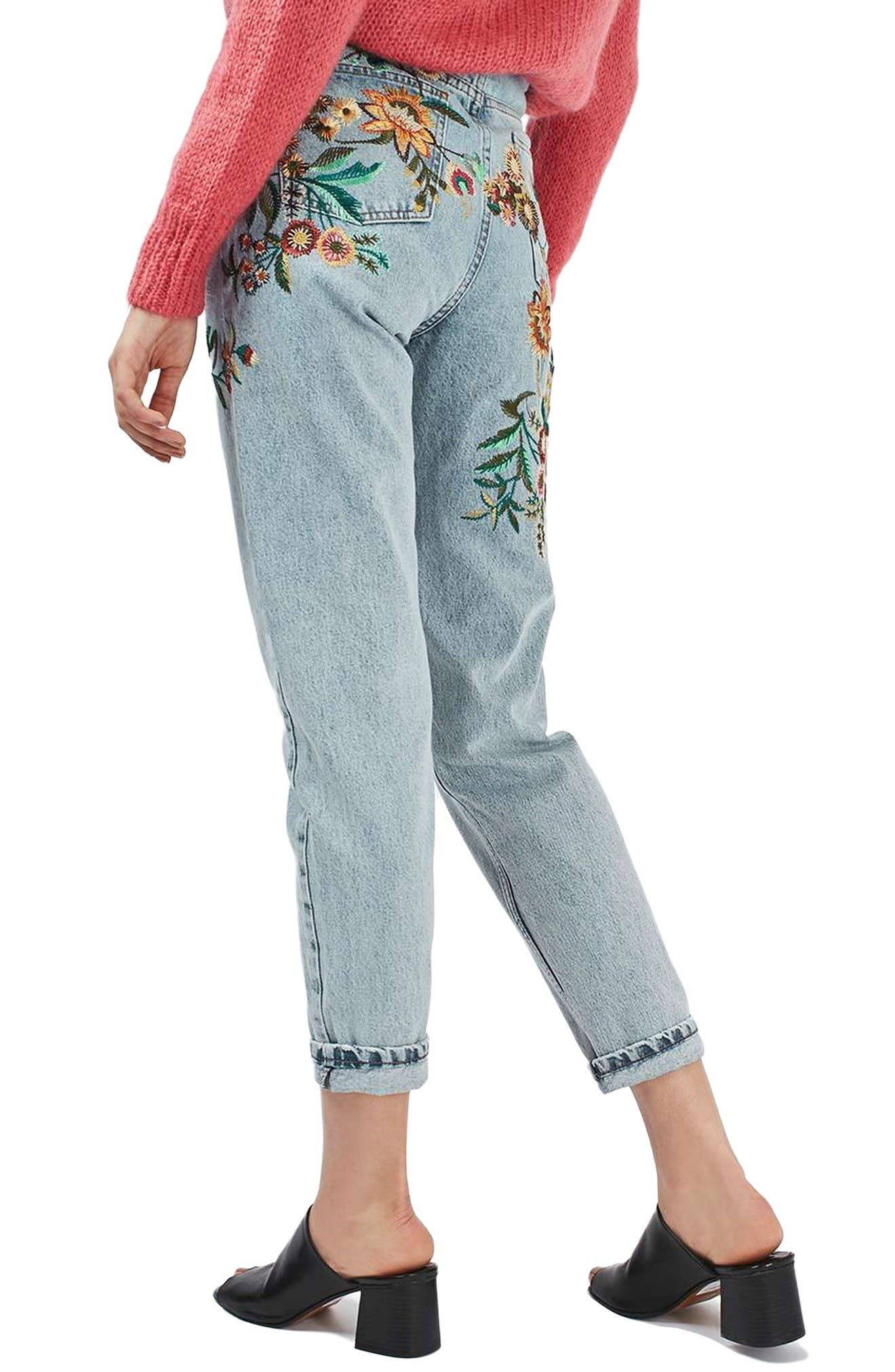Alternate Image 3  - Topshop Mom Embroidered Jeans