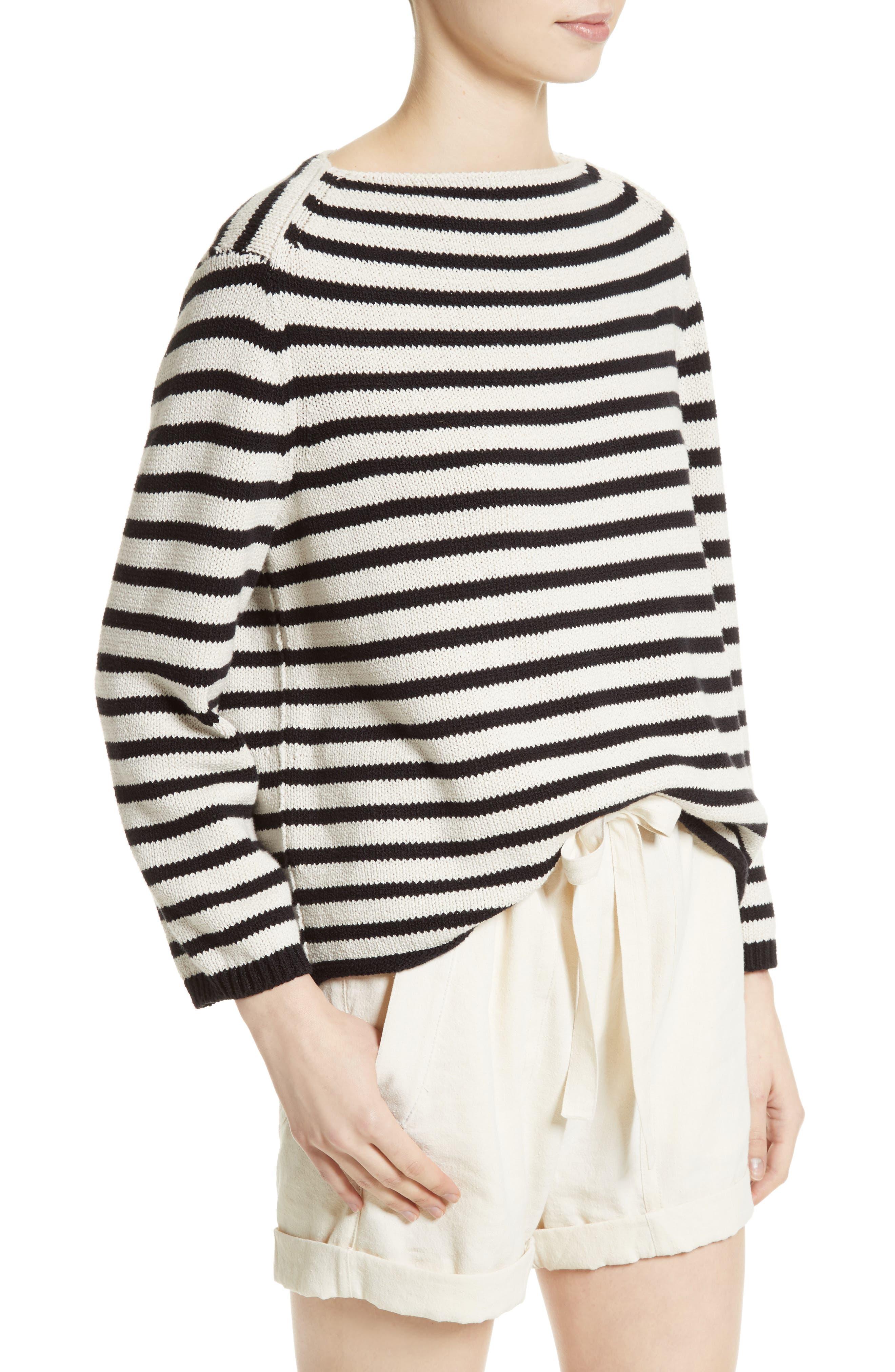 Alternate Image 4  - Vince Stripe Cotton Blend Pullover