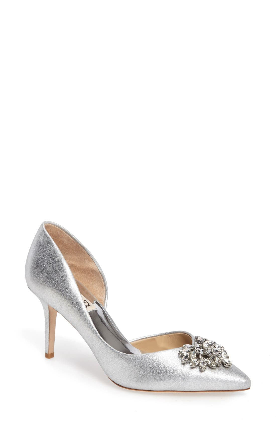 BADGLEY MISCHKA Baltic Pointy Toe Half d'Orsay Embellished