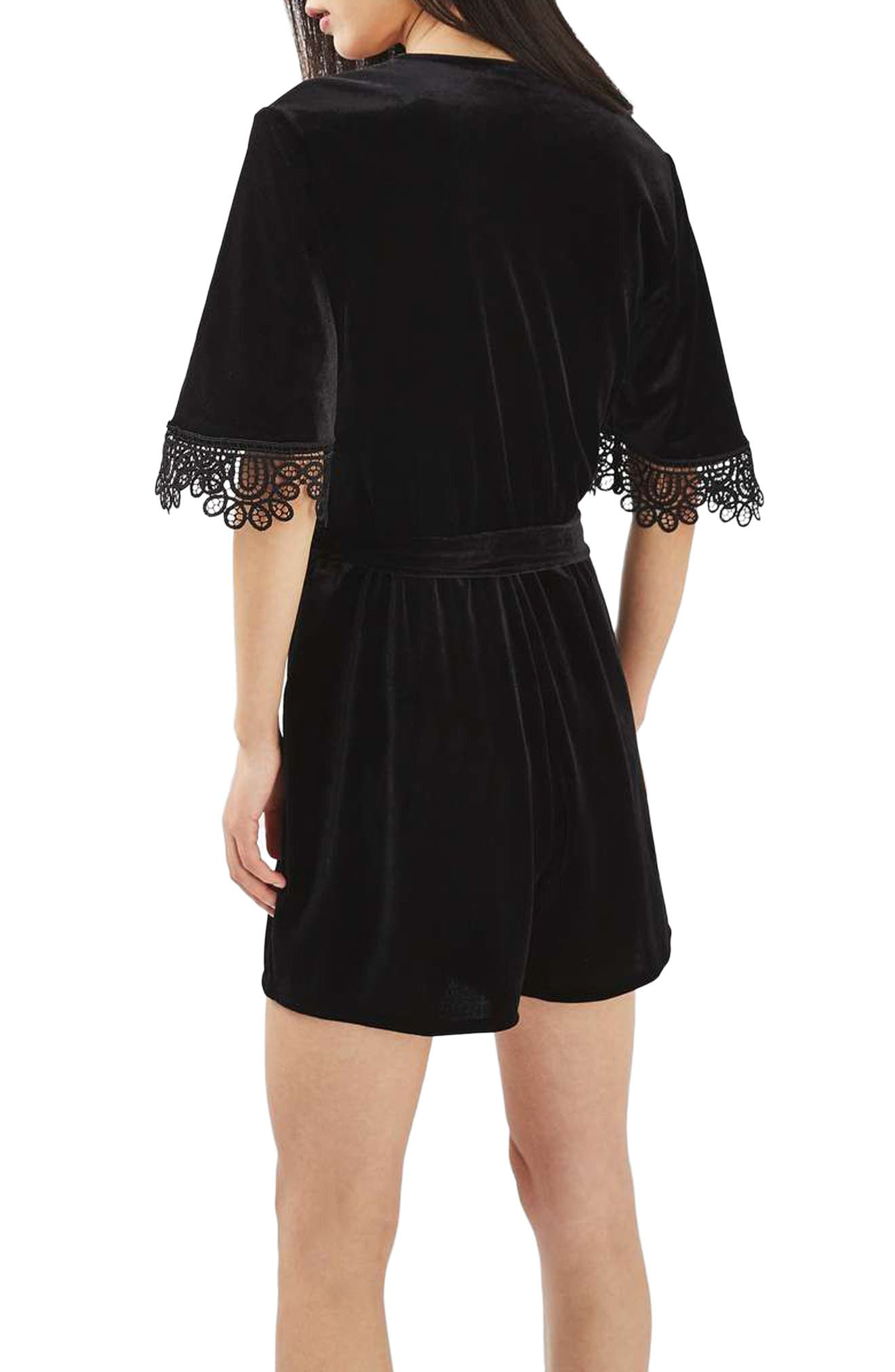 Alternate Image 2  - Topshop Lace Trim Velvet Romper