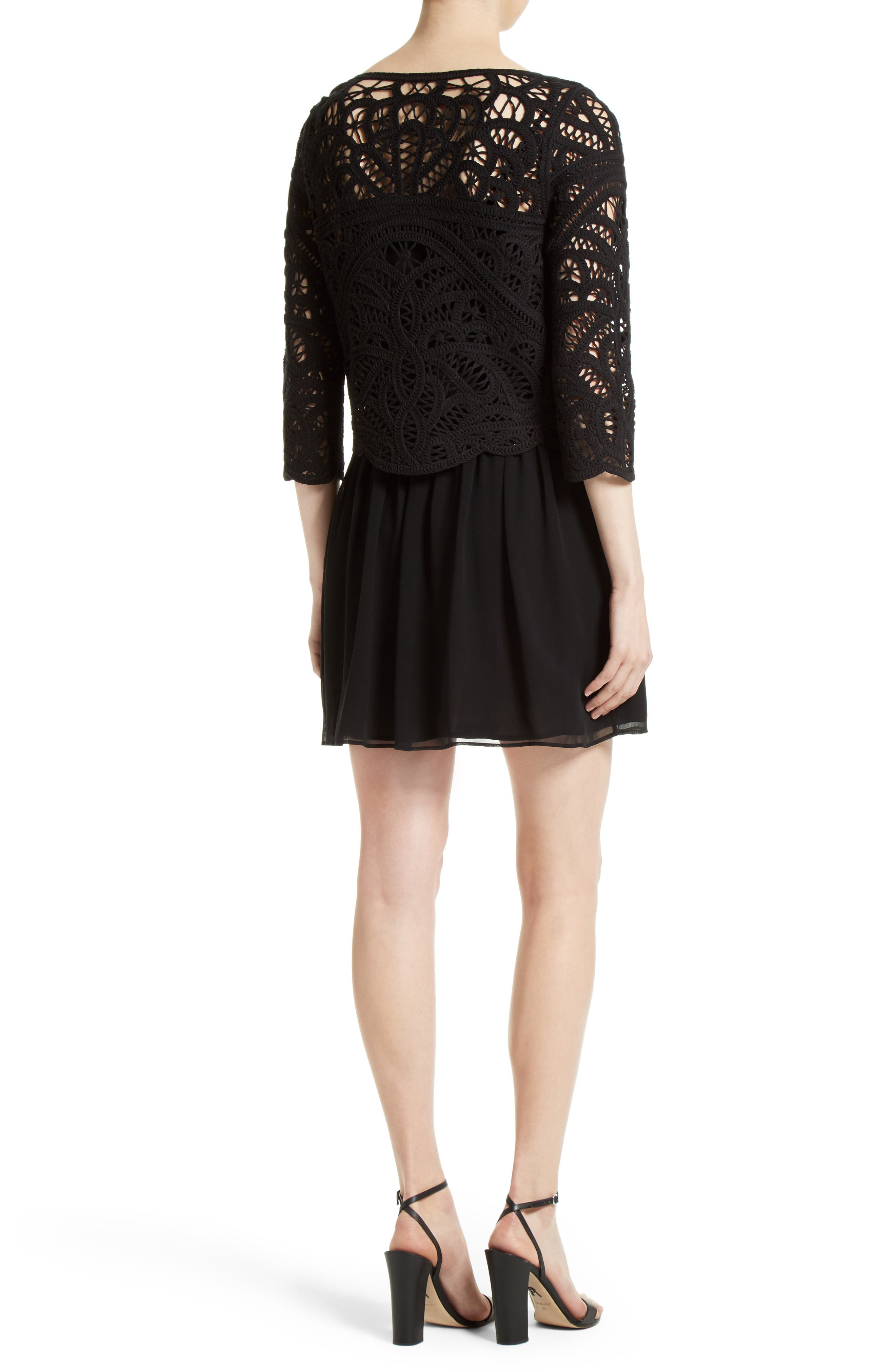 Alternate Image 2  - Joie Jordie Crochet Overlay Chiffon Dress