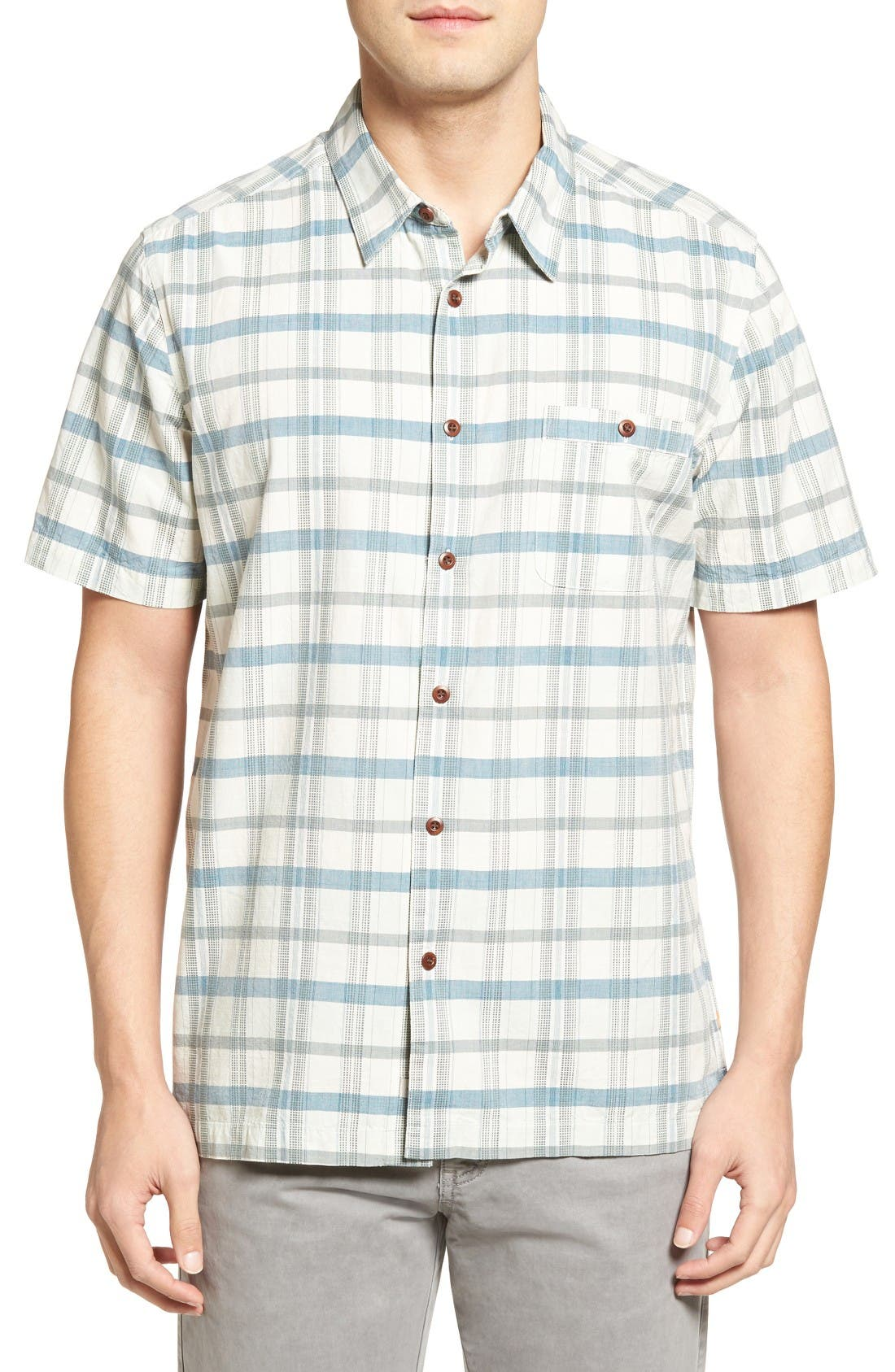 Quiksilver Waterman Collection 'Idle Time' Regular Fit Plaid Camp Shirt
