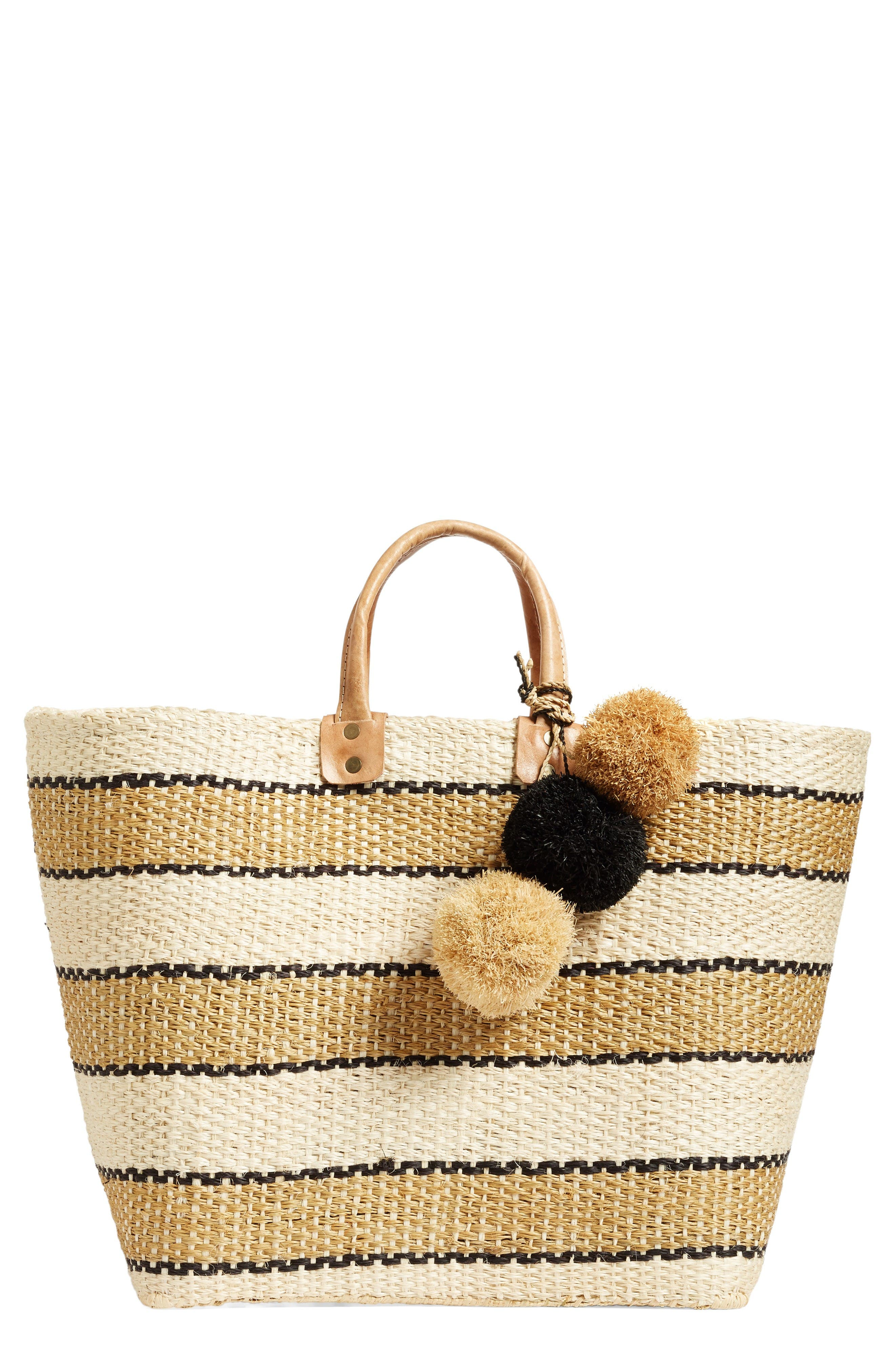 Alternate Image 1 Selected - Mar y Sol 'Capri' Woven Tote with Pom Charms