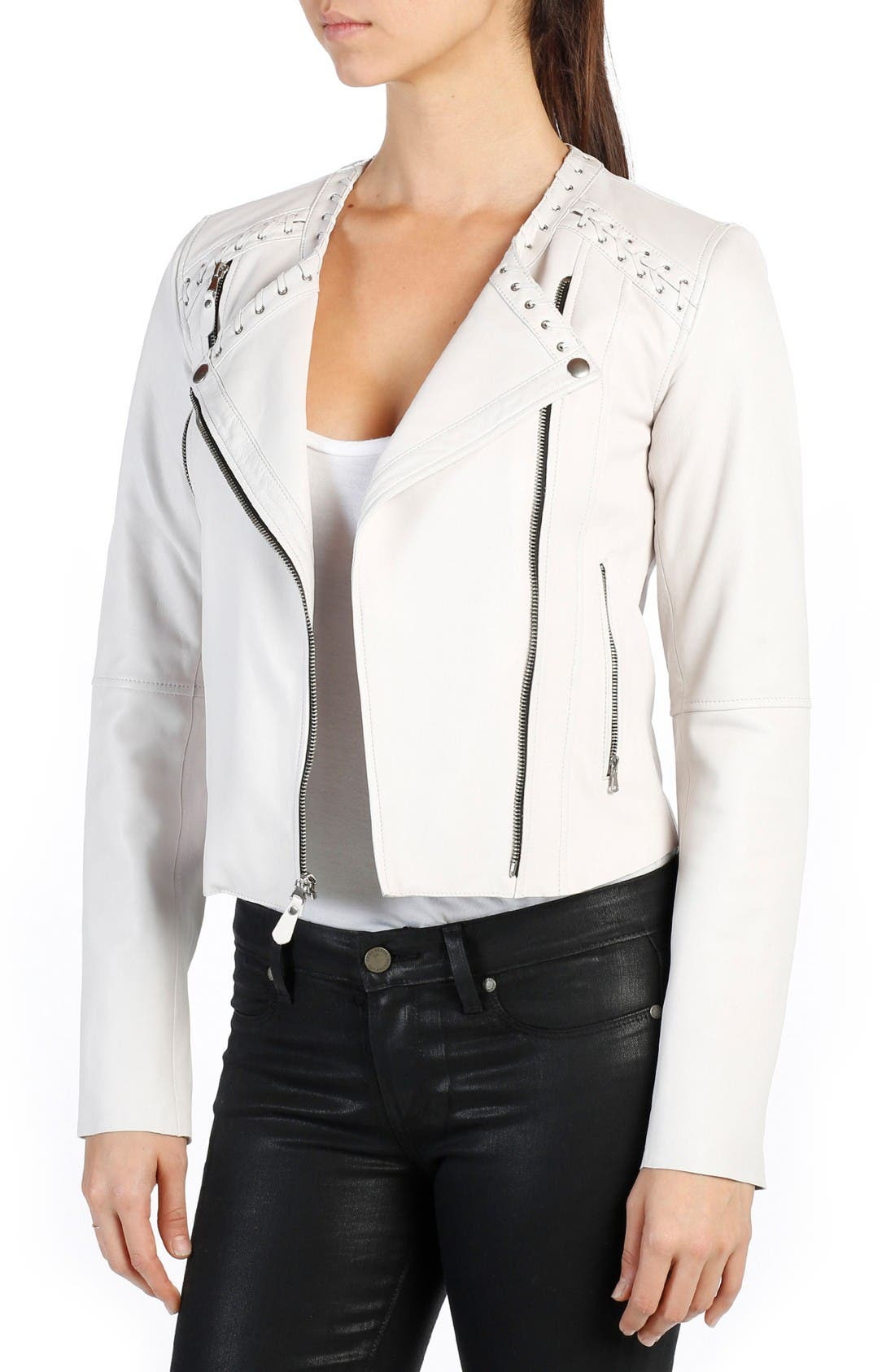 PAIGE Devin Lambskin Leather Moto Jacket