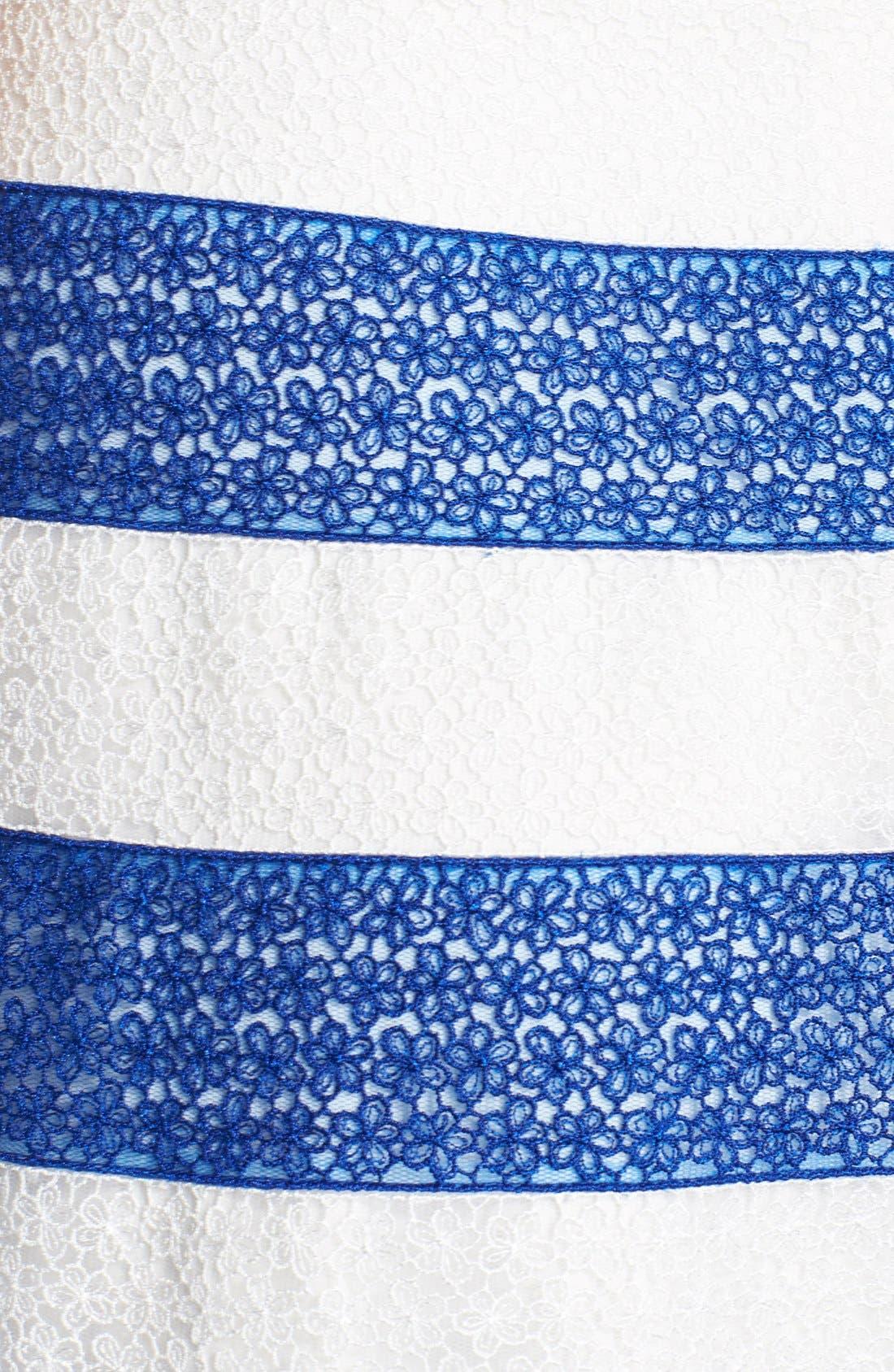 Alternate Image 4  - Tadashi Shoji Stripe Lace Fit & Flare Dress