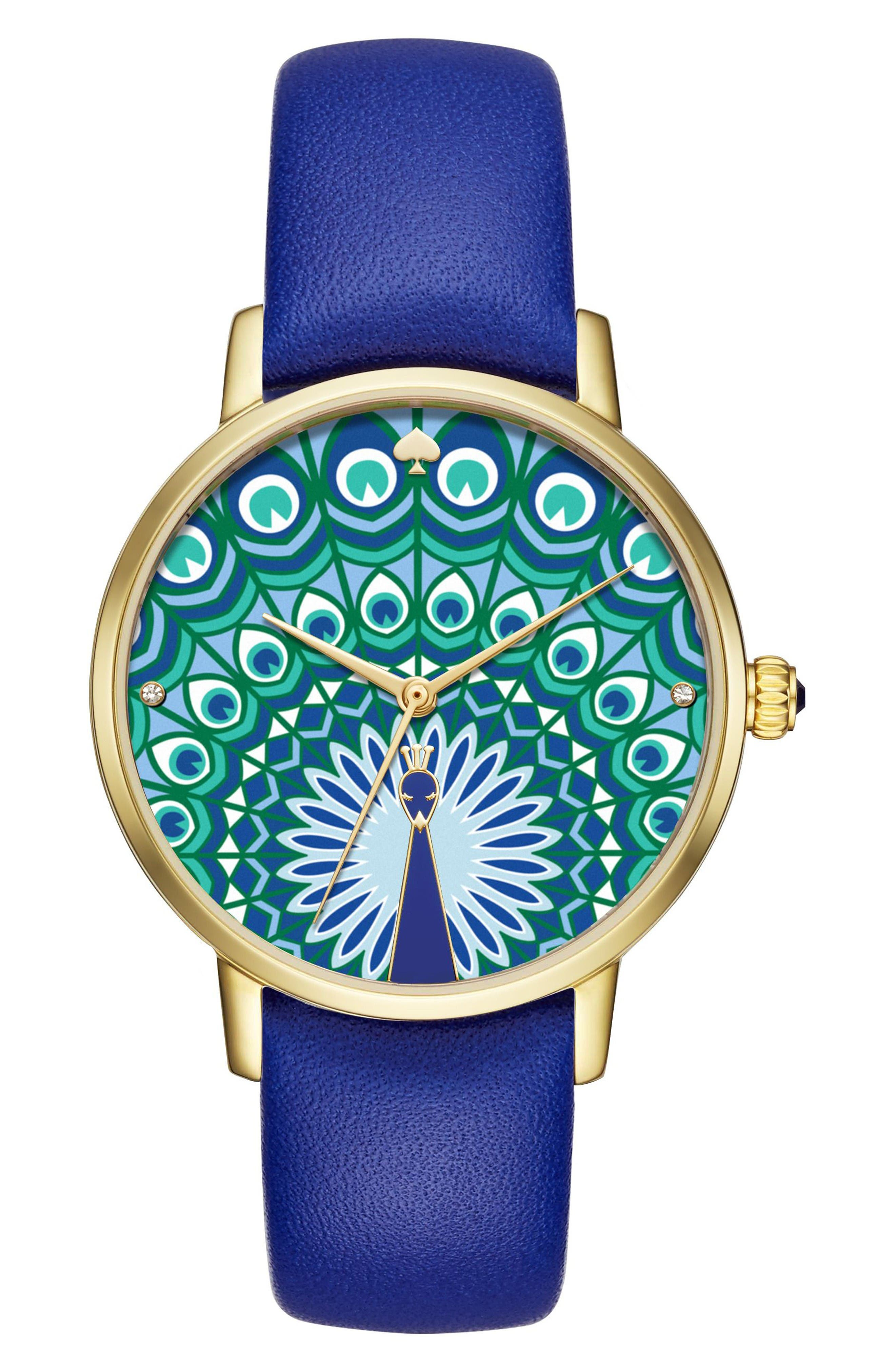 Alternate Image 1 Selected - kate spade new york metro peacock leather strap watch, 34mm