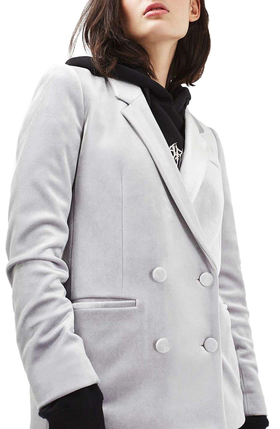 Alternate Image 4  - Topshop Velvet Suit Jacket