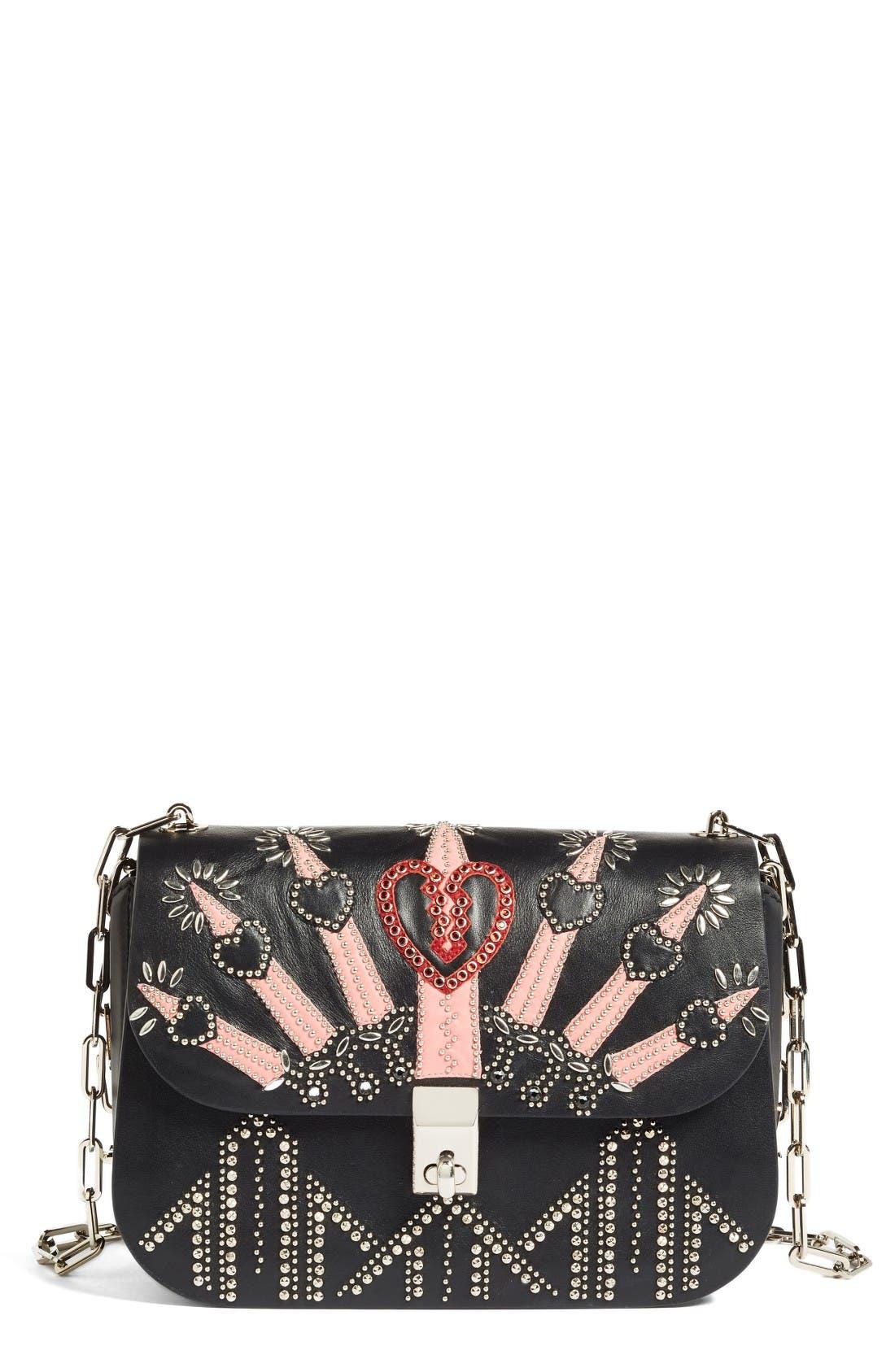 Alternate Image 1 Selected - Valentino Love Blade Embroidered Calfskin Leather Shoulder Bag