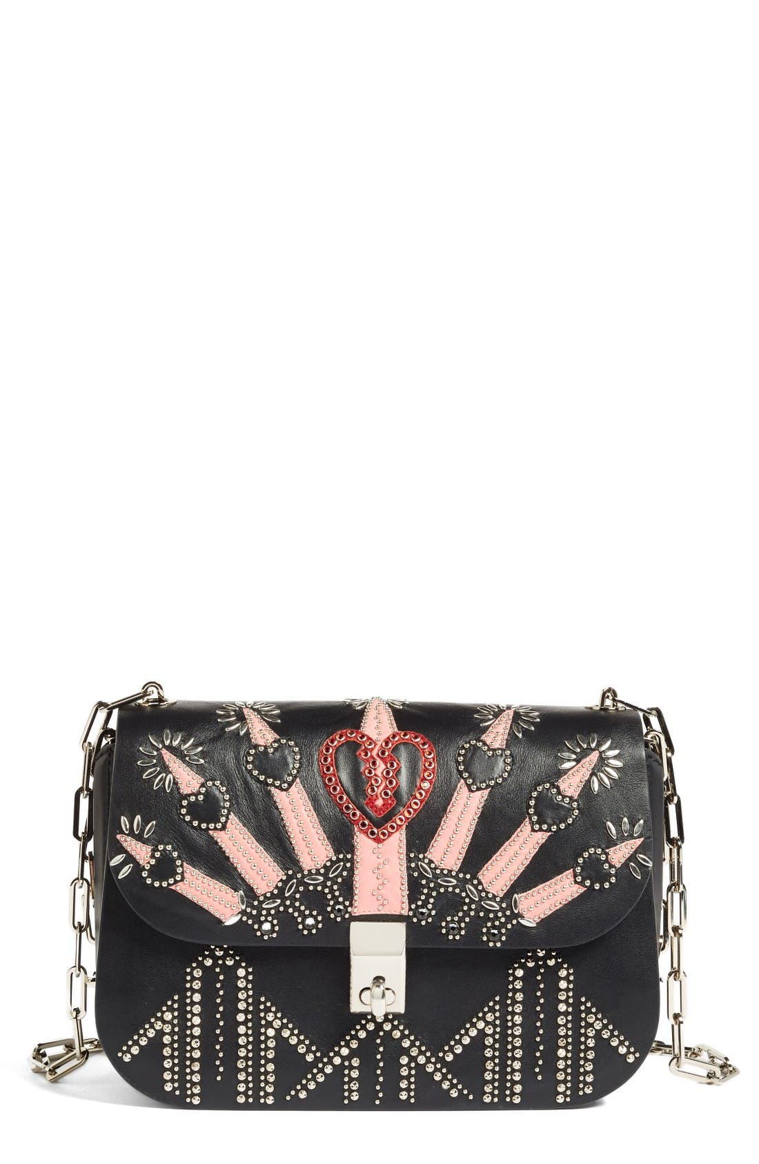 Main Image - Valentino Love Blade Embroidered Calfskin Leather Shoulder Bag