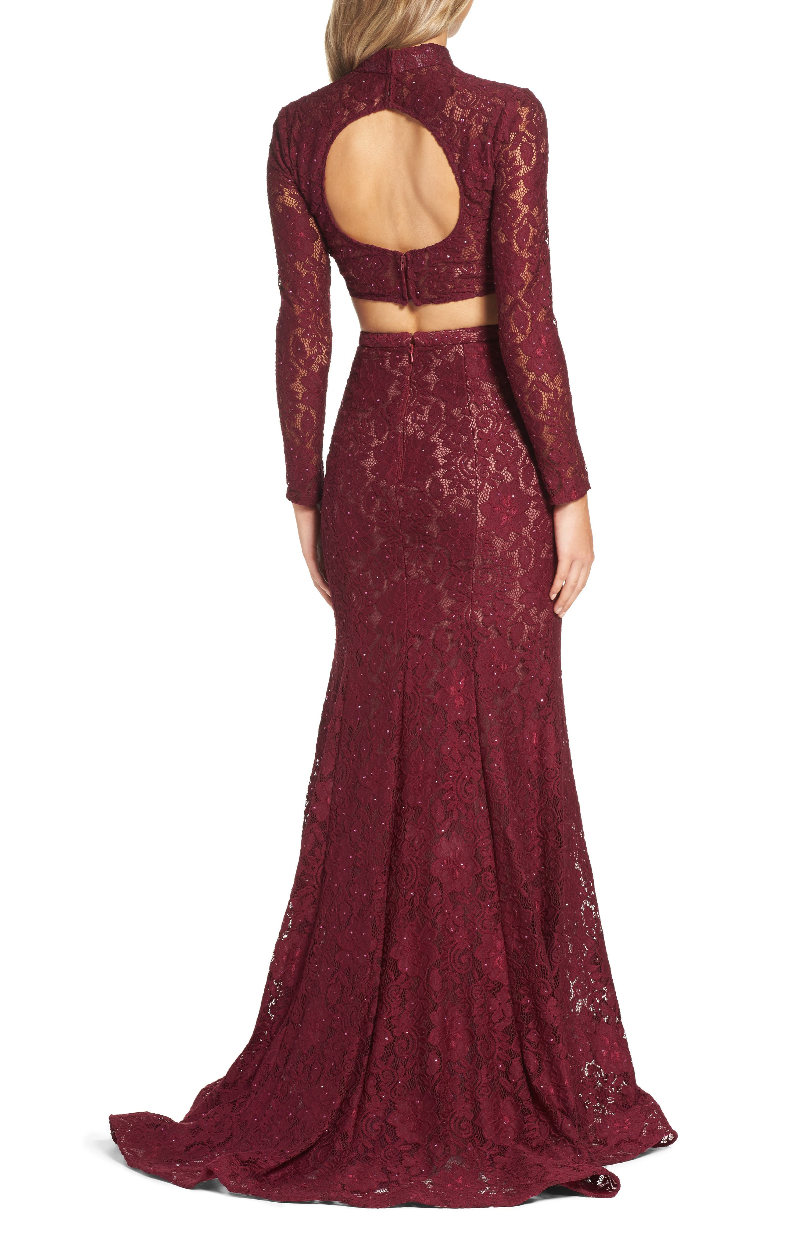 Alternate Image 2  - La Femme Embellished Lace Two-Piece Gown