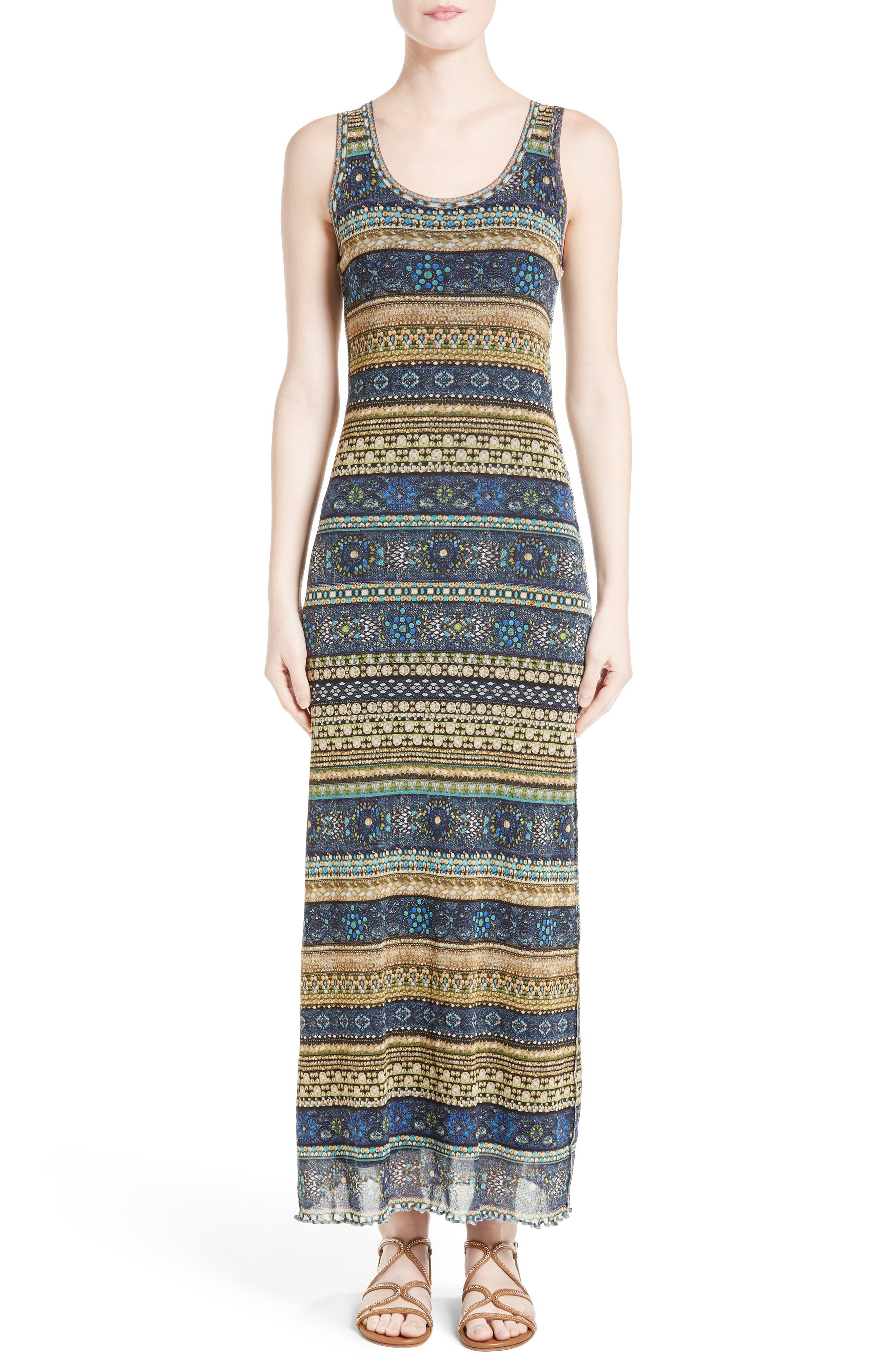 FUZZI Jewel Stripe Print Tank Dress