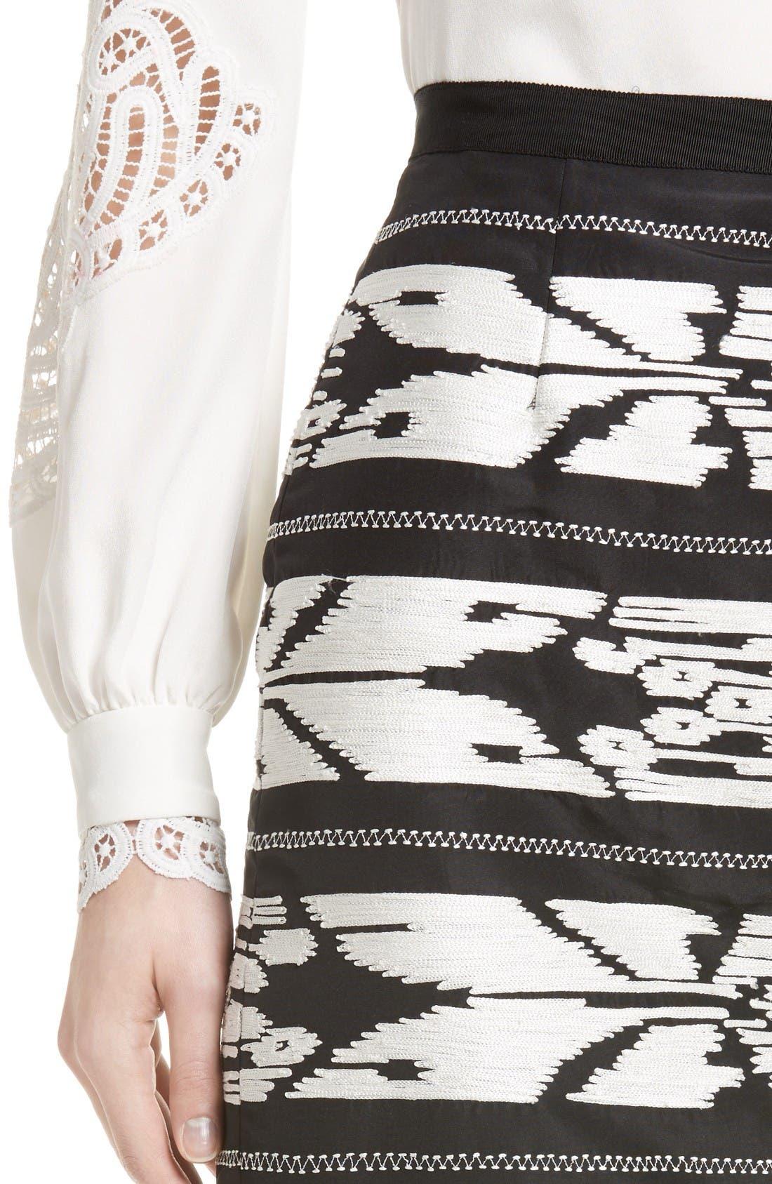 Alternate Image 5  - Oscar de la Renta Ikat Embroidered Pencil Skirt