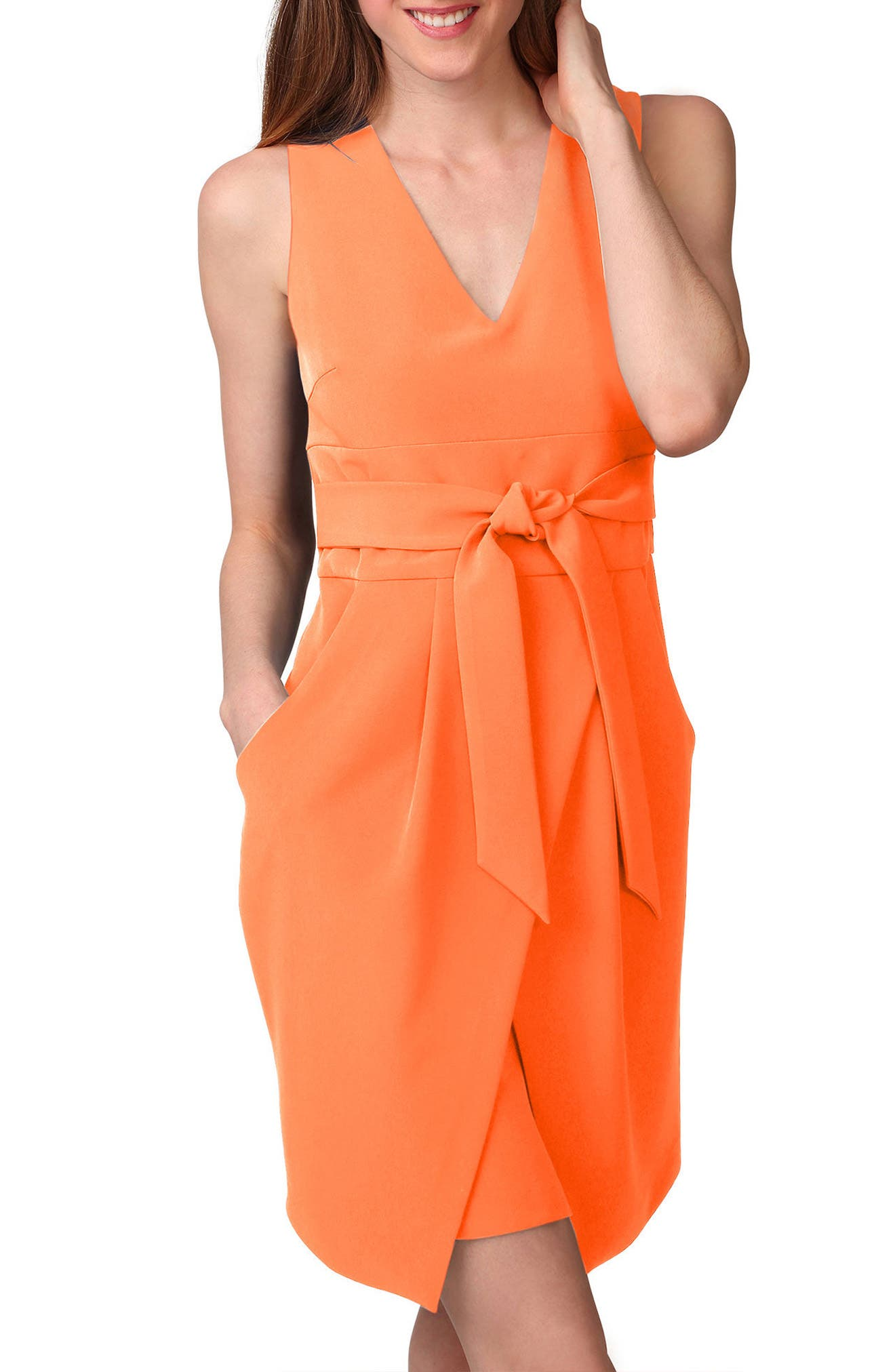 Alternate Image 3  - Donna Morgan Tulip Hem Sleeveless Crepe Dress (Regular & Petite)