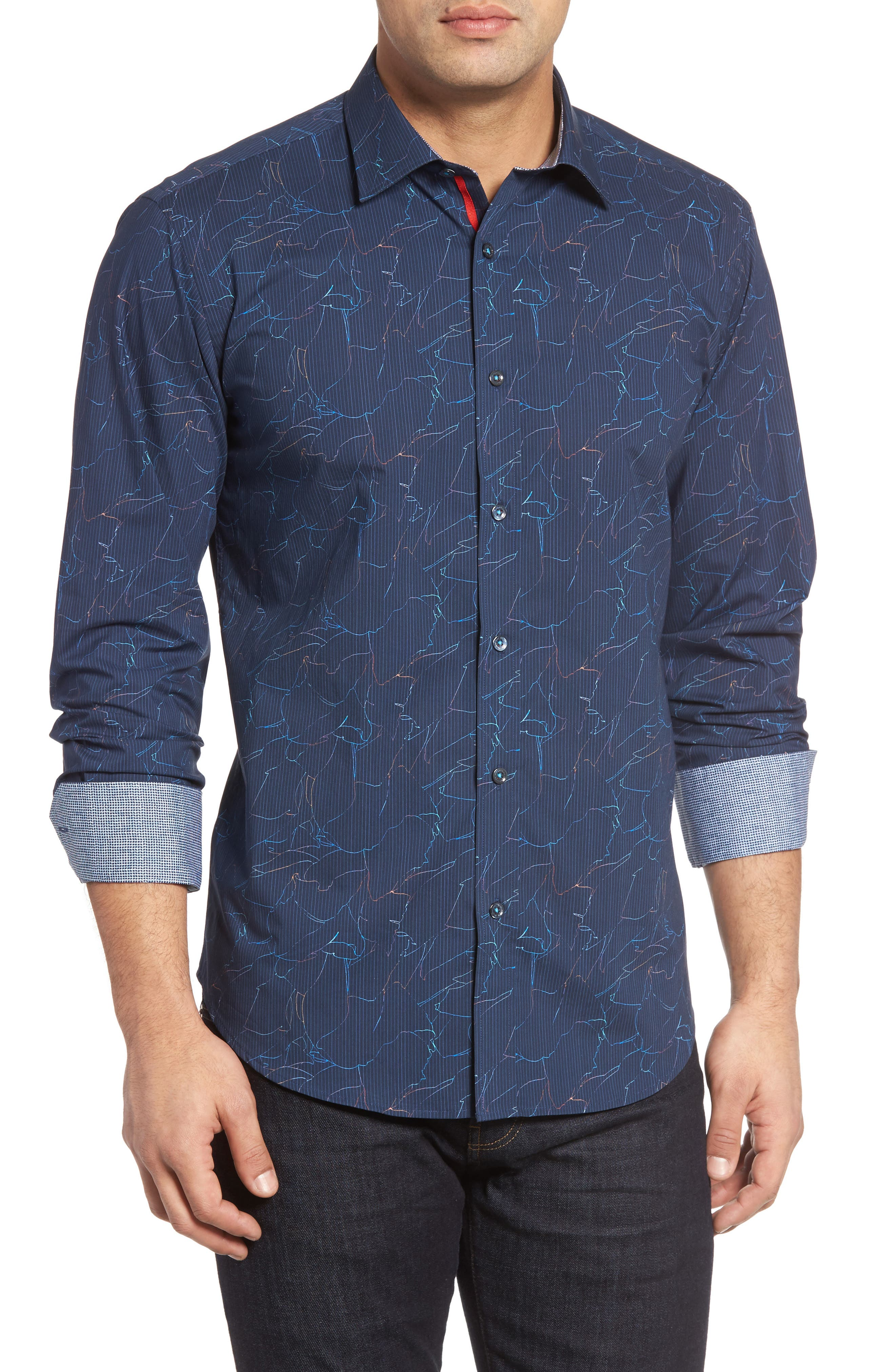 BUGATCHI Classic Fit Crackle Stripe Sport Shirt