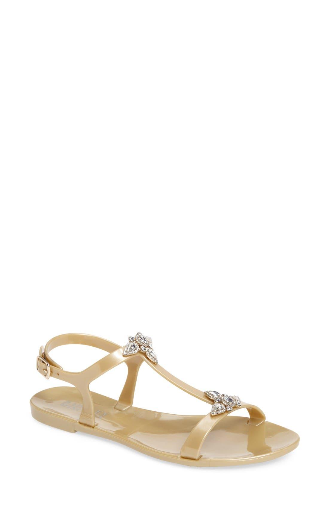 Alternate Image 1 Selected - Badgley Mischka Belize Crystal Embellished Flat Sandal (Women)