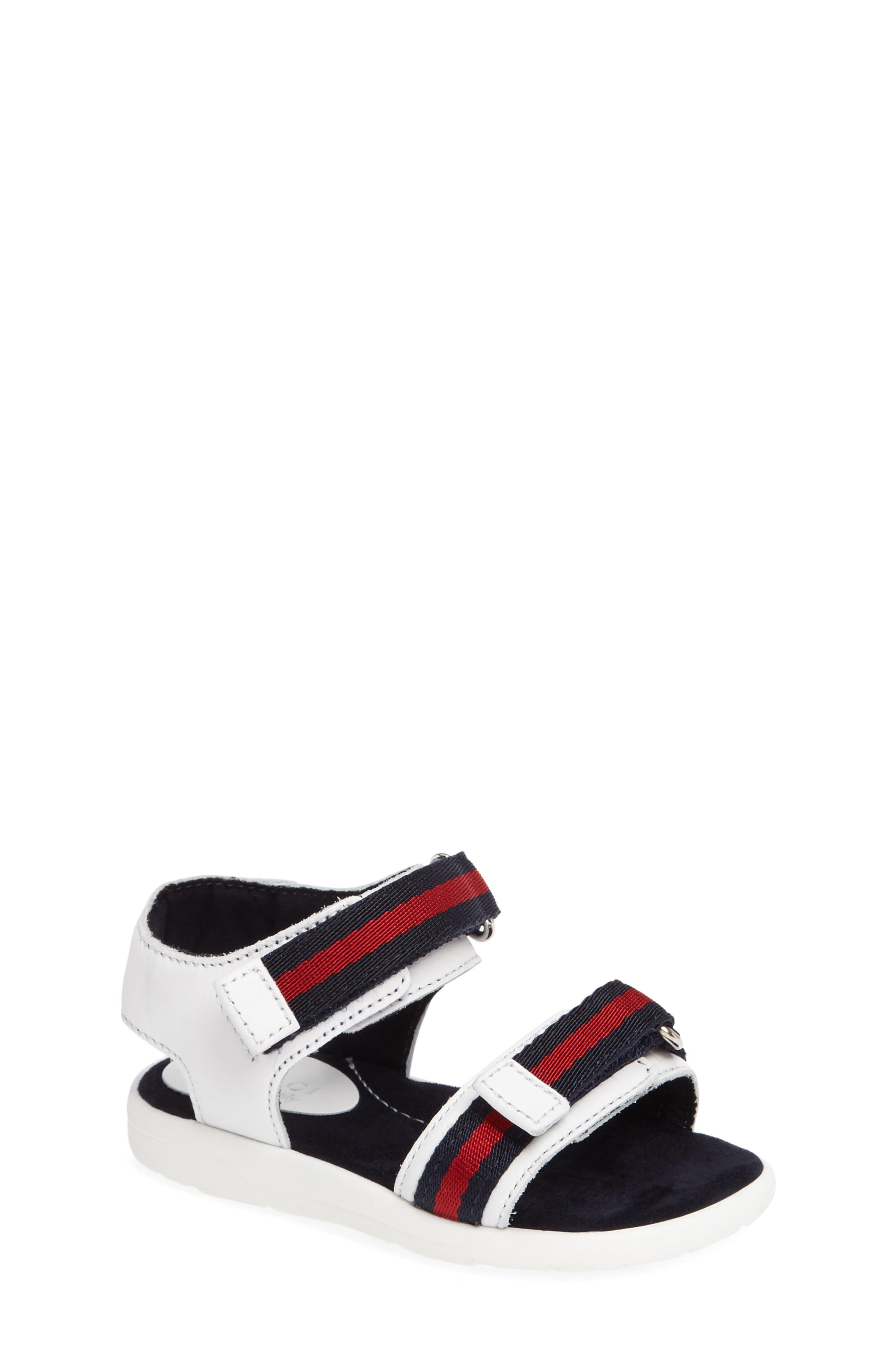 Gucci Stripe Web Sandal (Baby, Walker & Toddler)