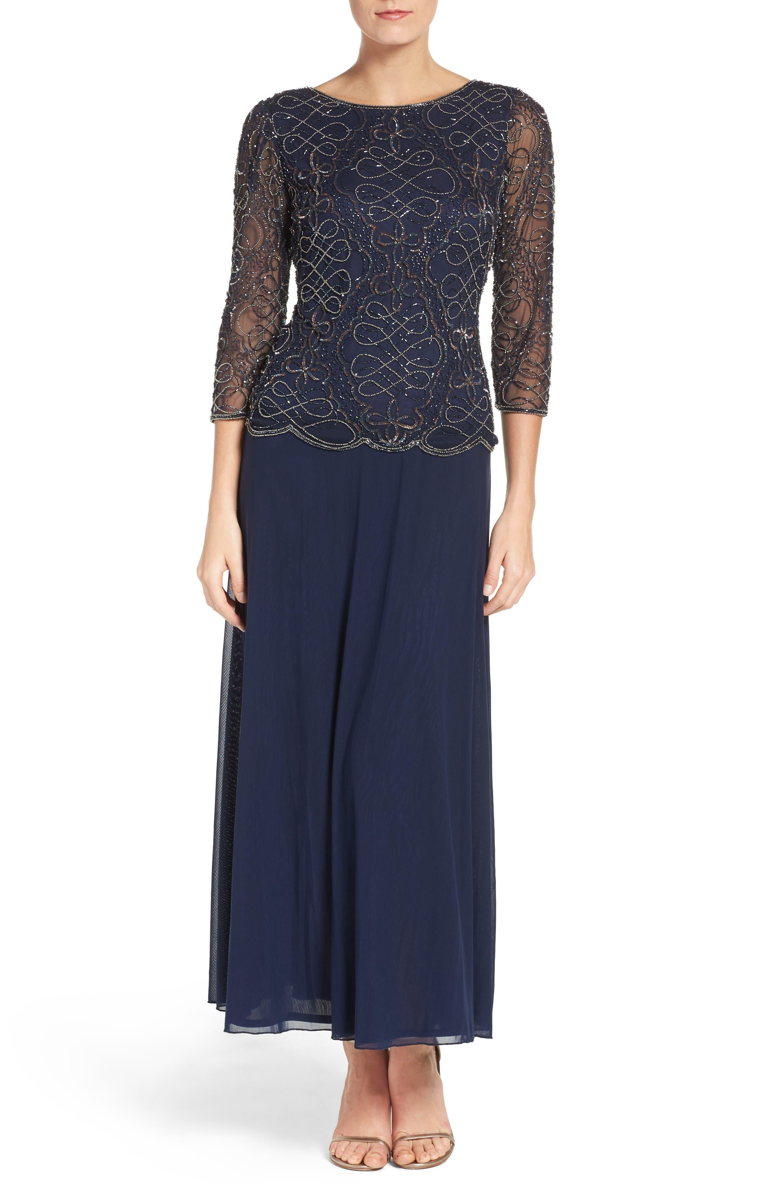 Pisarro Nights Embellished Mesh & Chiffon Gown (Regular & Petite)