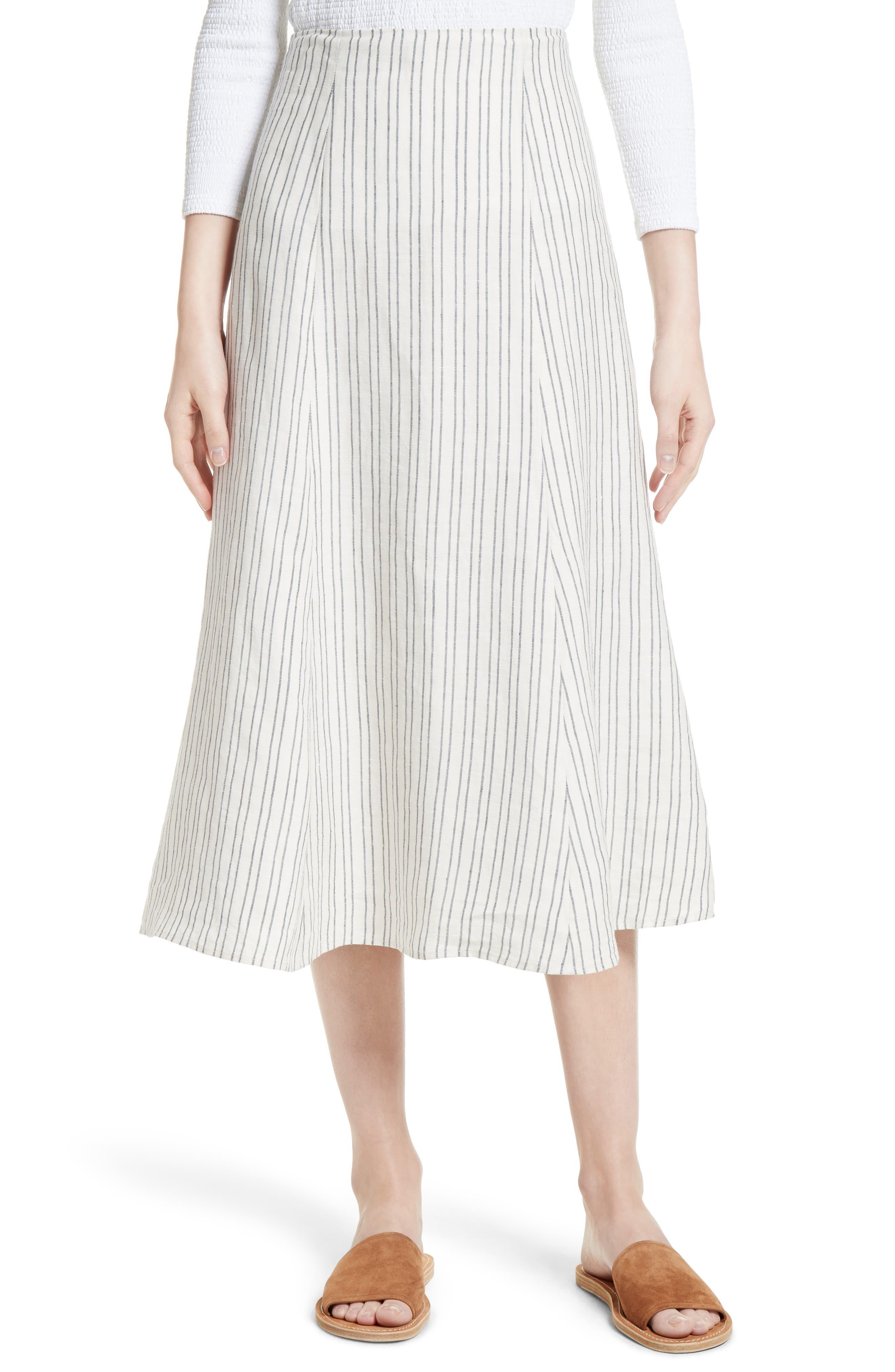 Theory Zimri Stripe Linen Skirt