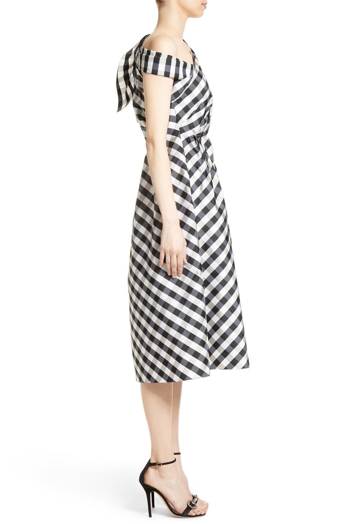 Alternate Image 4  - Carolina Herrera Bow Detail One-Shoulder Gingham Dress