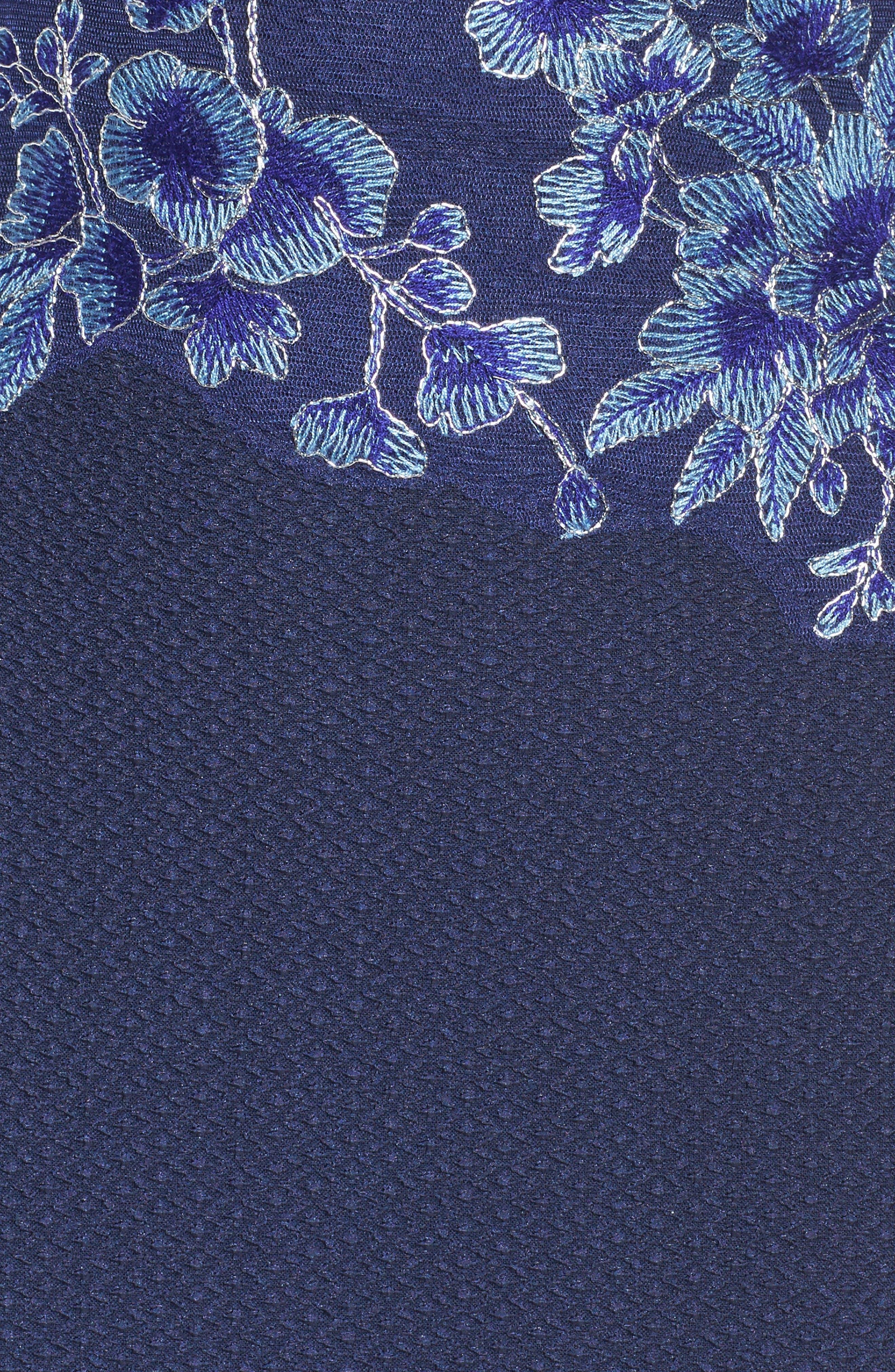 Alternate Image 6  - Tadashi Shoji Embroidered Crepe Gown (Regular & Petite)