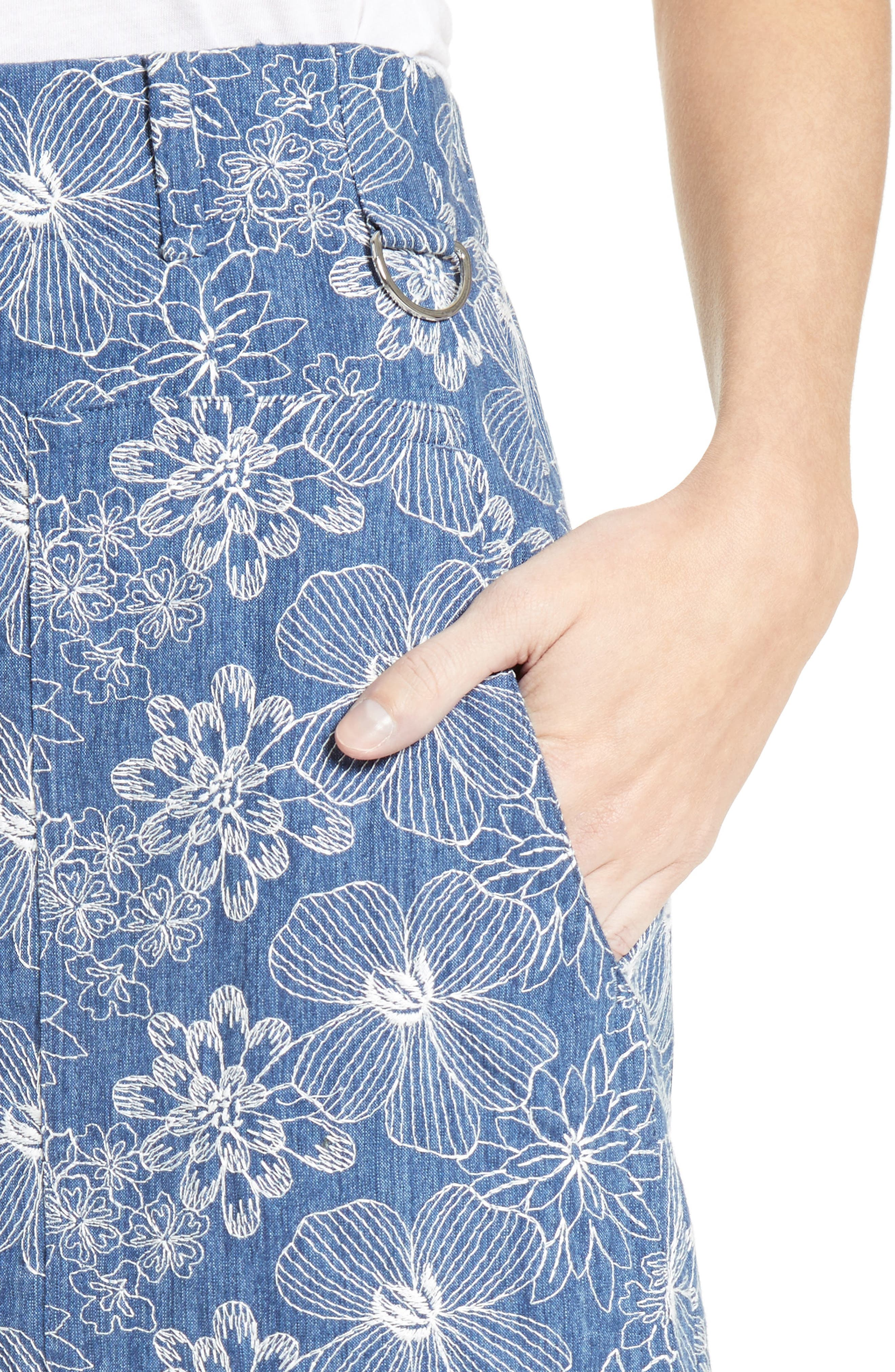 Alternate Image 6  - Julien David Floral Embroidered Cotton Skirt
