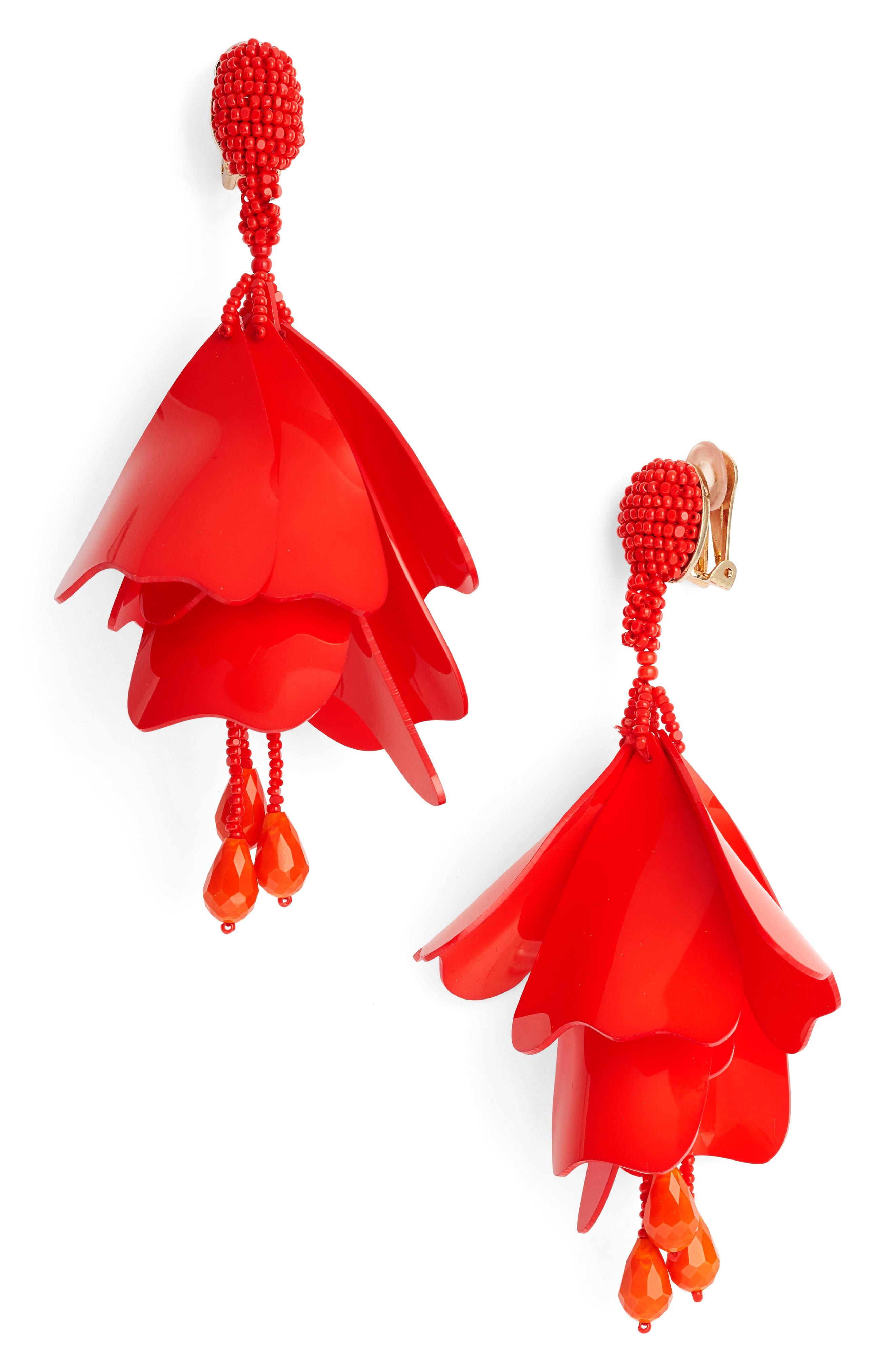 Alternate Image 1 Selected - Oscar de La Renta Large Impatiens Flower Clip Earrings