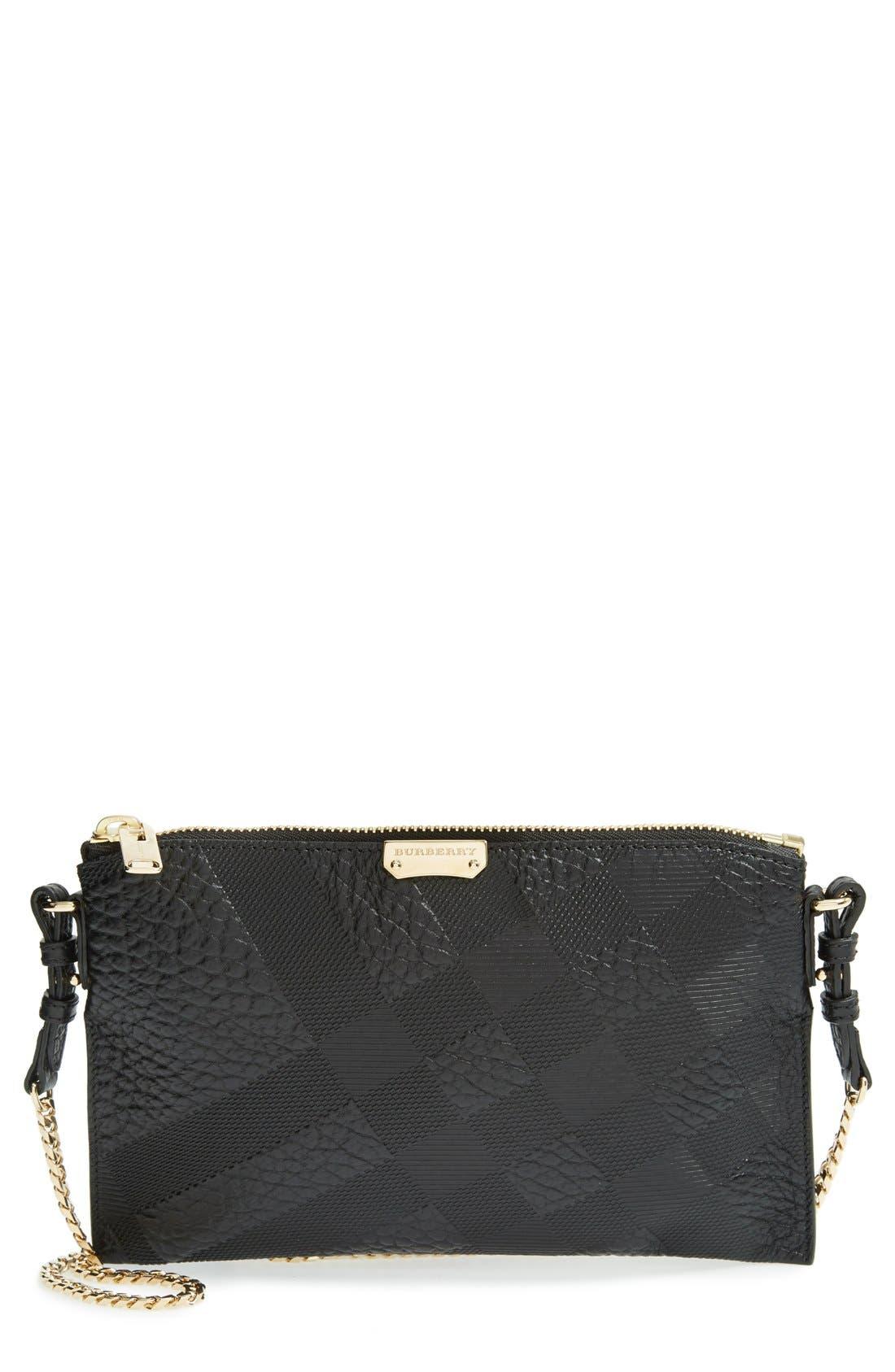 Alternate Image 1 Selected - Burberry 'Peyton - Grain Check' Embossed Leather Crossbody Bag