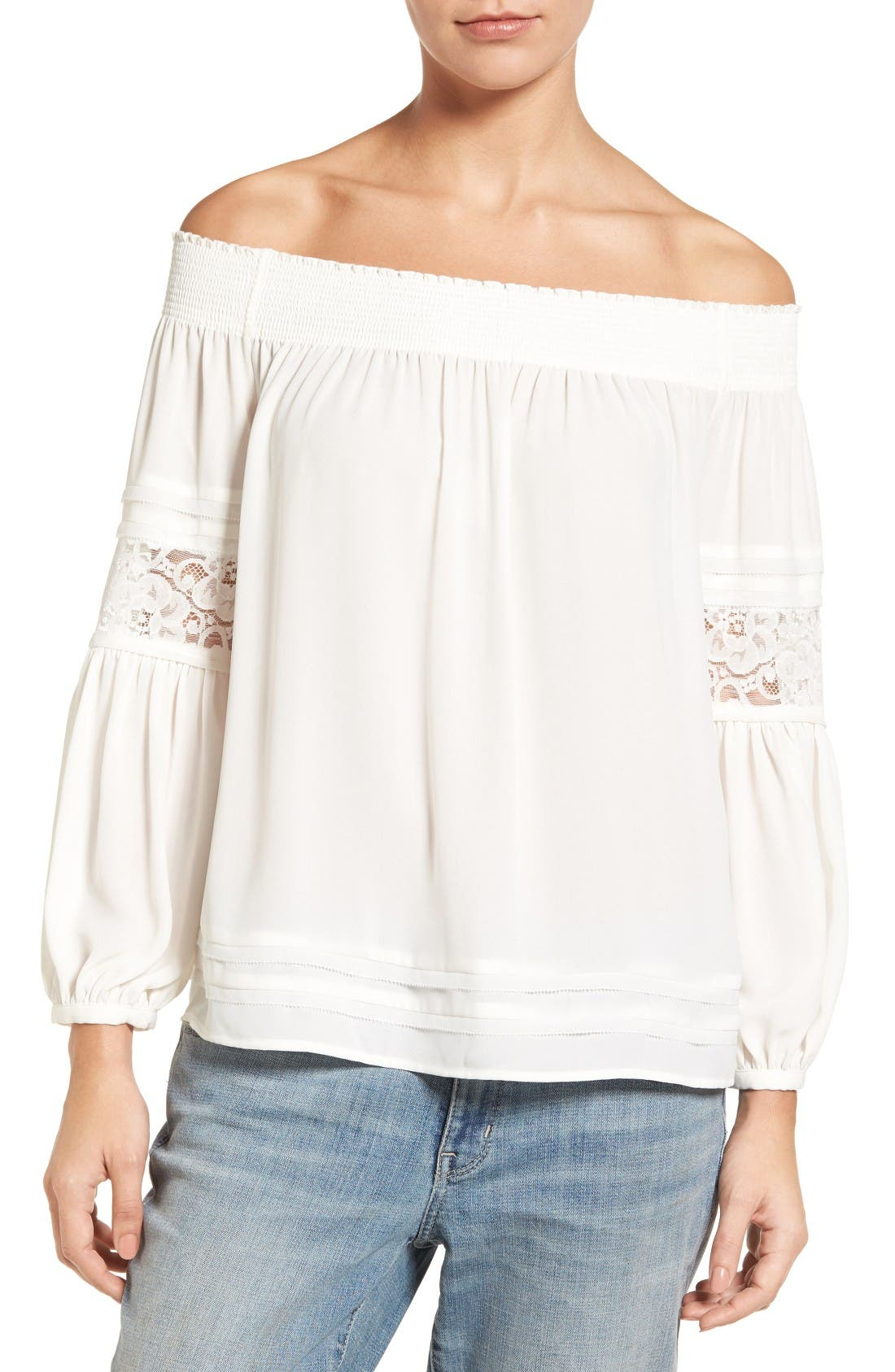 CHELSEA28 Off the Shoulder Peasant Top