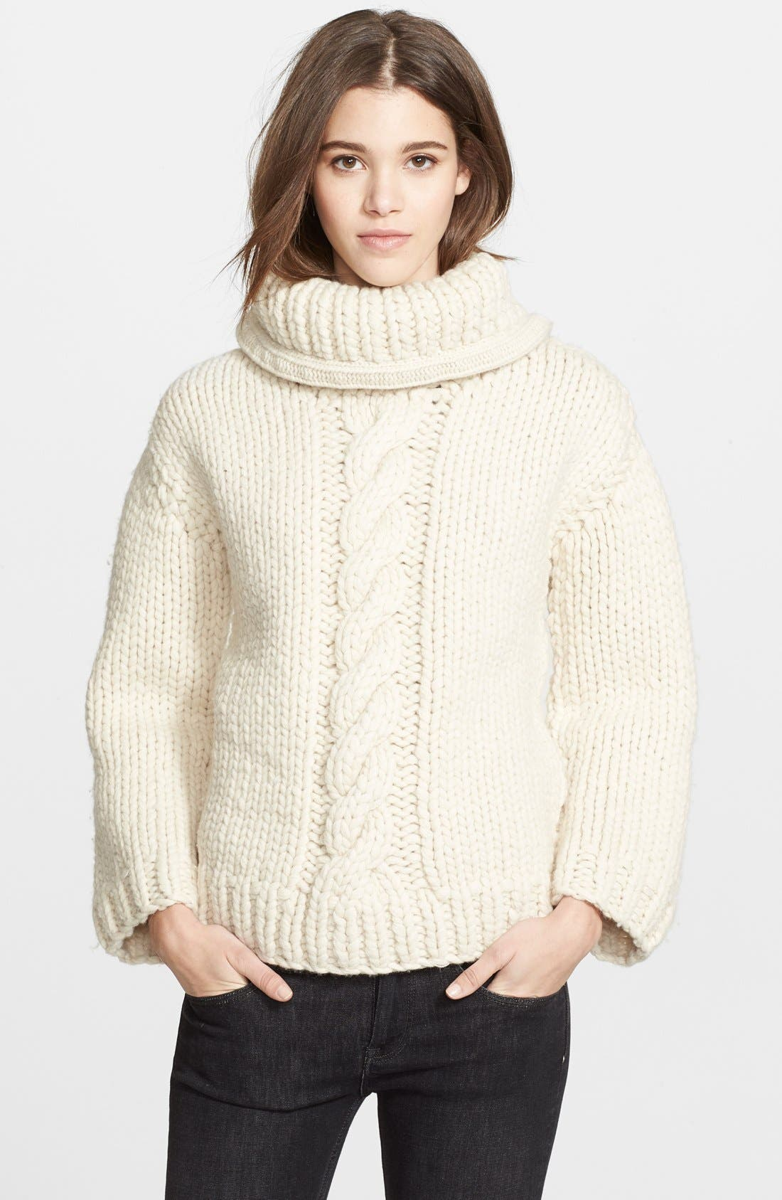 Alternate Image 1 Selected - Burberry Brit Wool & Alpaca Foldover Collar Sweater