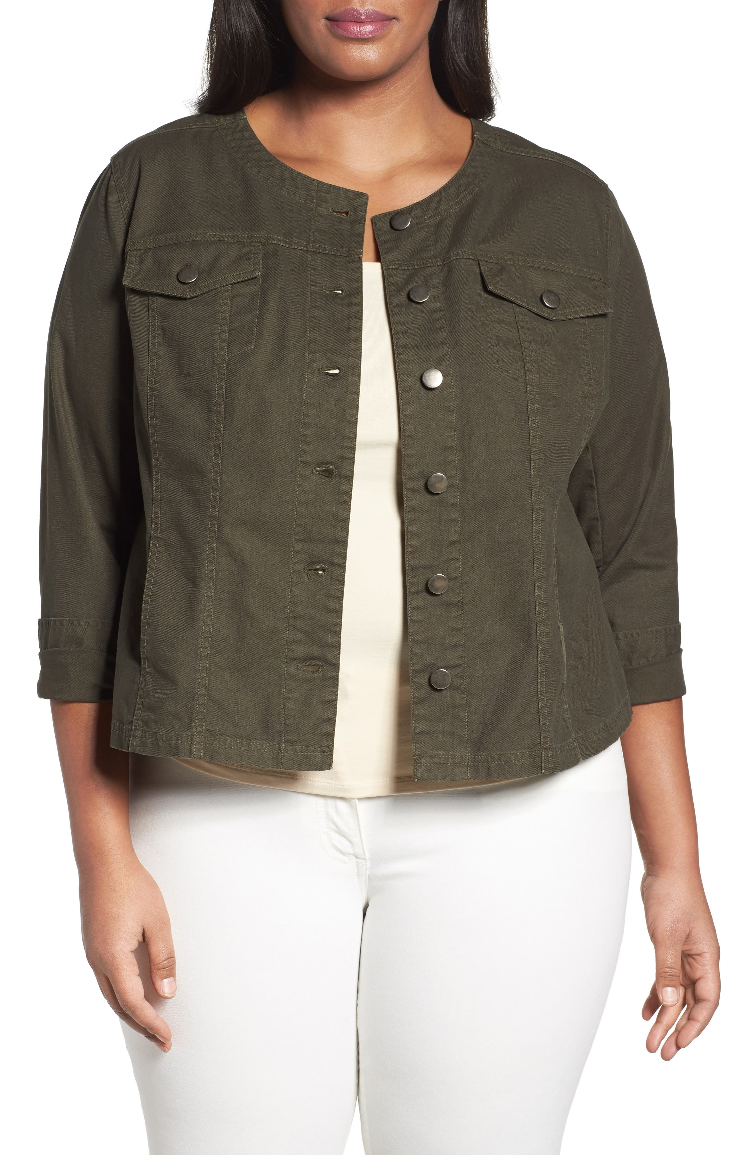 Sejour Collarless Trucker Jacket (Plus Size)