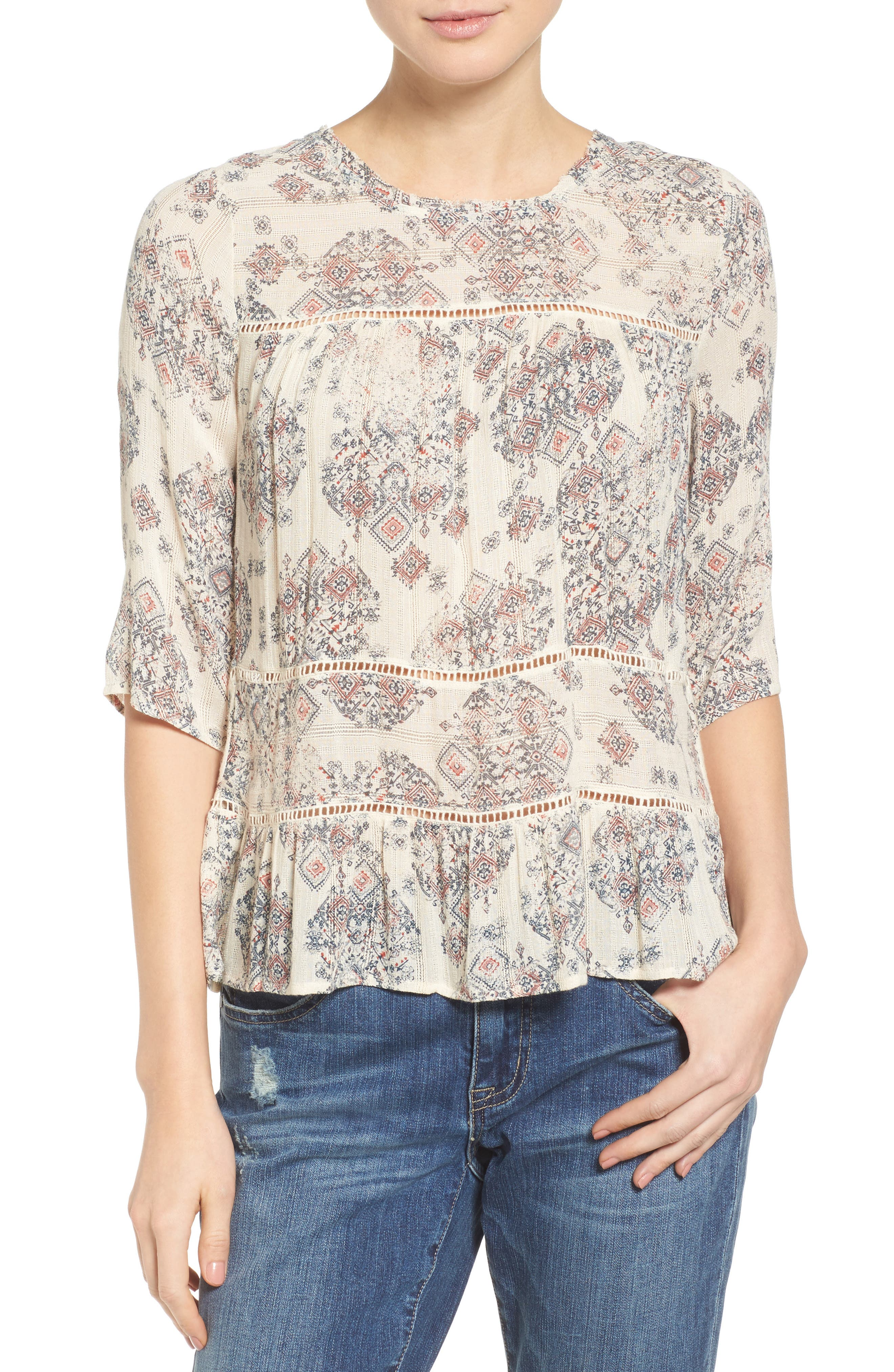 Alternate Image 1 Selected - Lucky Brand Button Back Ruffle Hem Print Top