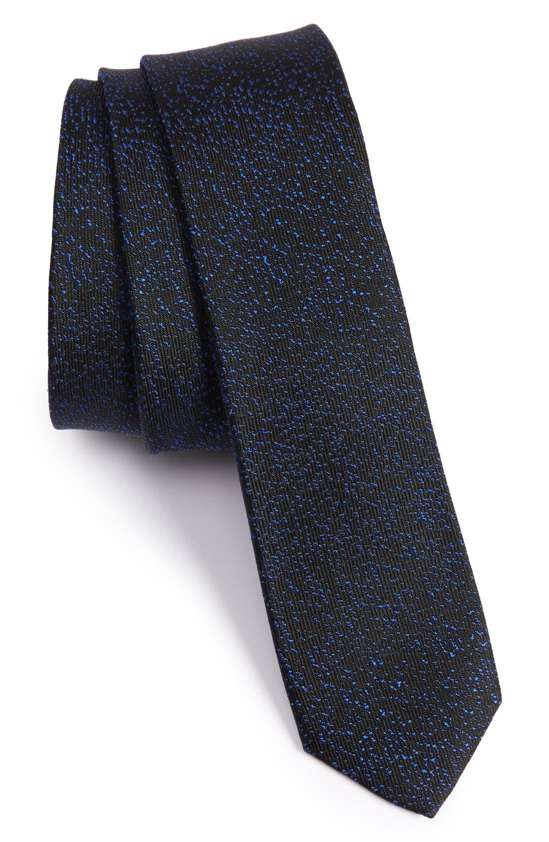 The Kooples Marble Jacquard Silk Skinny Tie