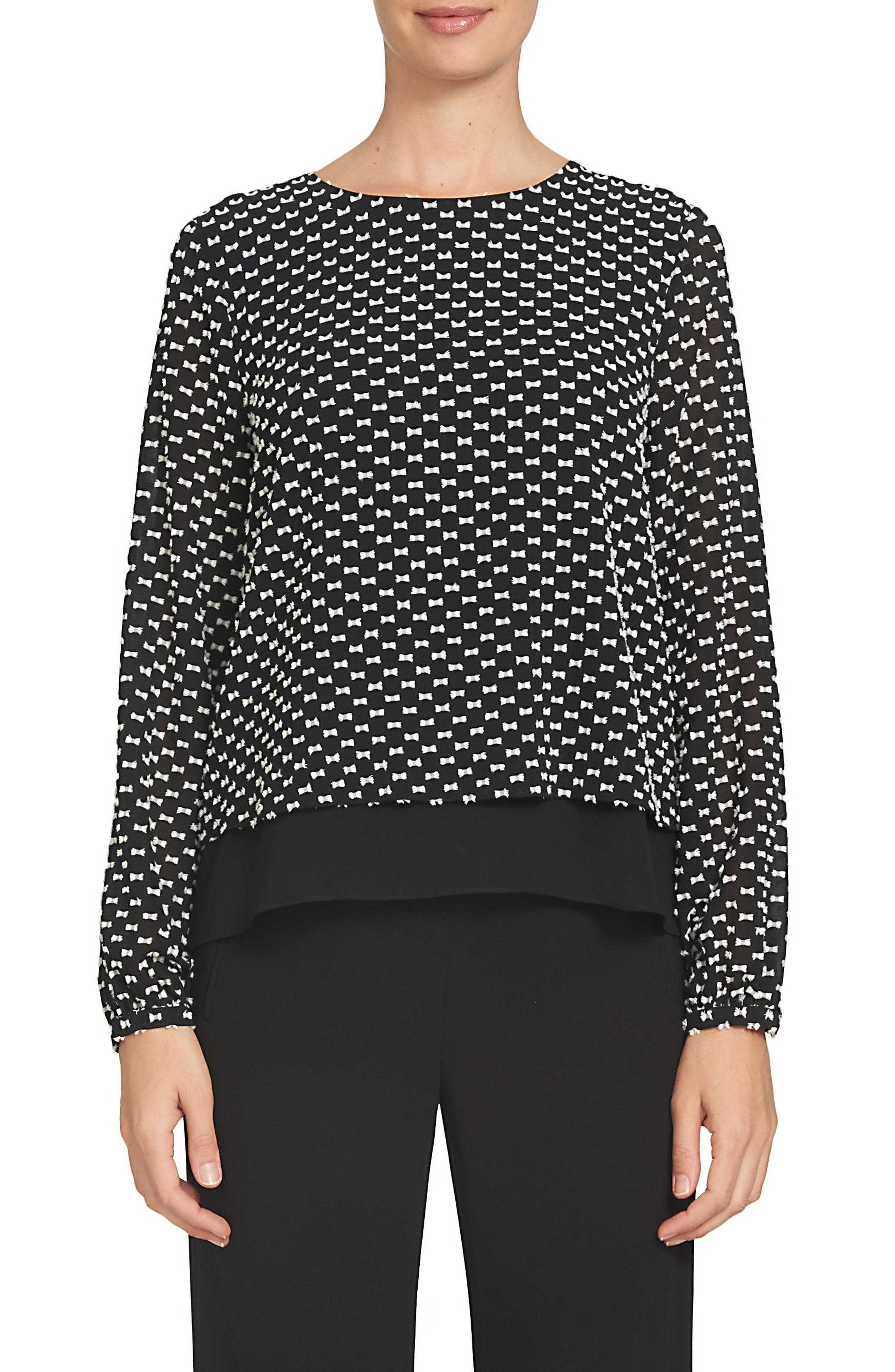 Main Image - CeCe Clipped Bow Dot Blouse