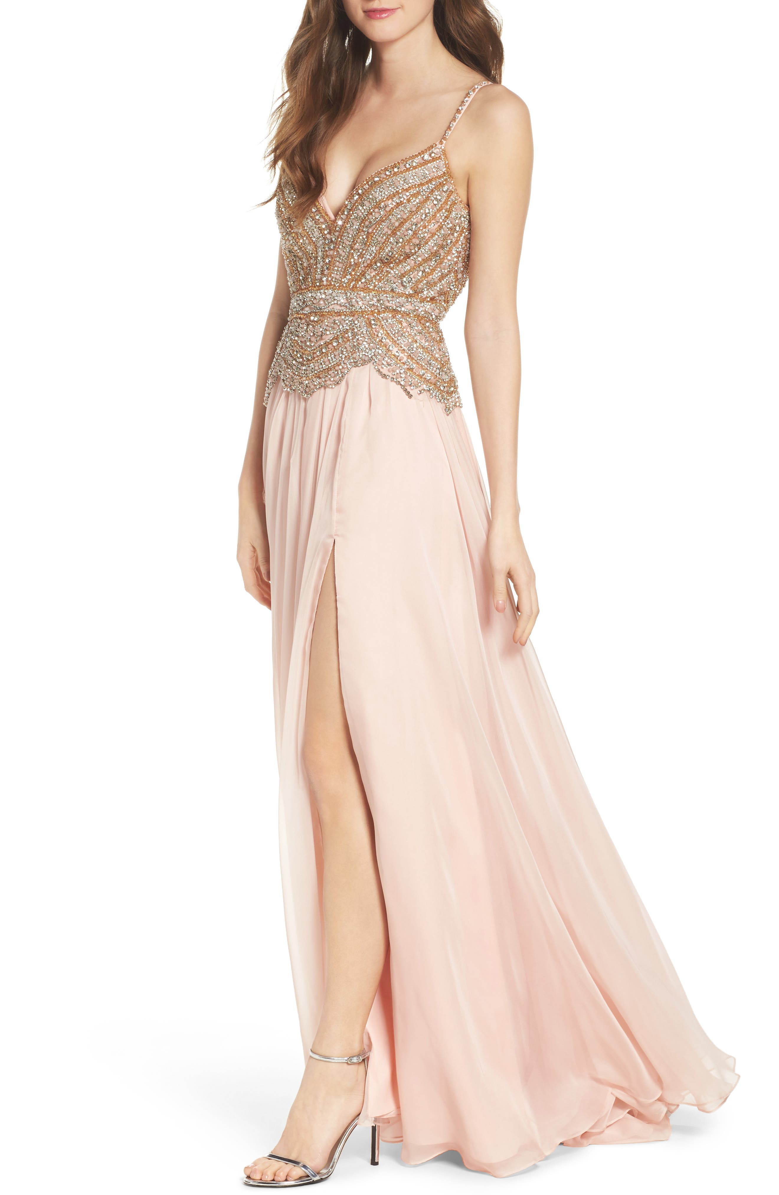 Alternate Image 4  - Mac Duggal Rhinstone Bodice A-Line Chiffon Gown